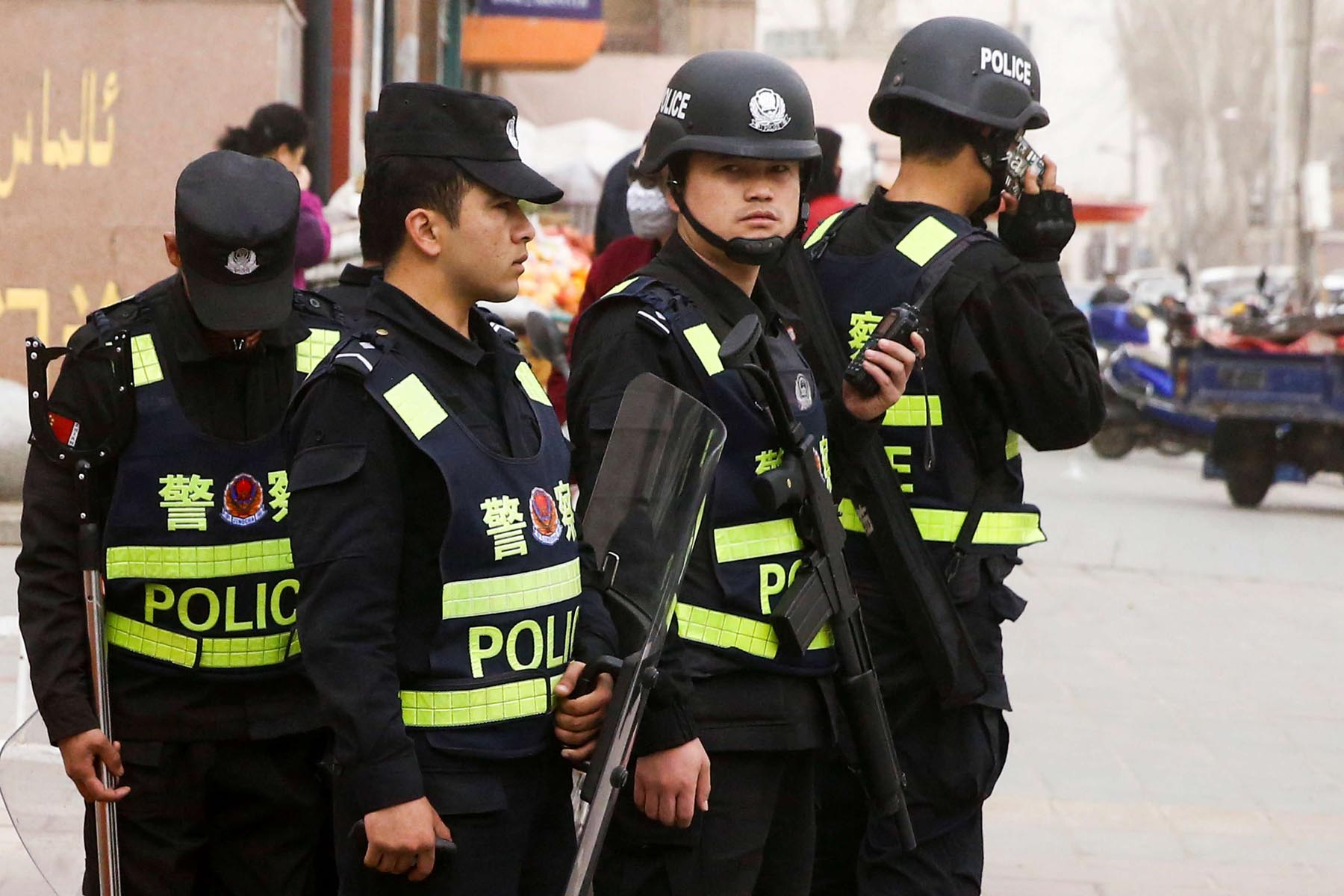 Security concerns. Armed police keep watch in a street in Kashgar in the Xinjiang Uighur Autonomous Region. (Reuters)