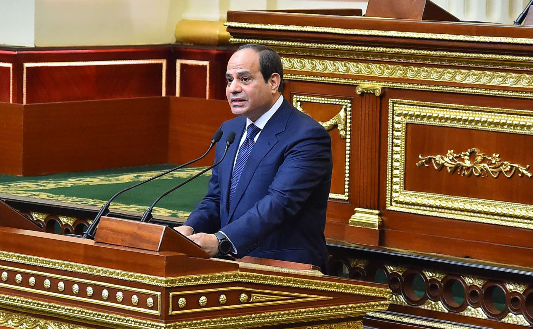 Egyptian President Abdel Fattah al-Sisi speaks at the parliament meeting hall in Cairo, last June.  (AFP)