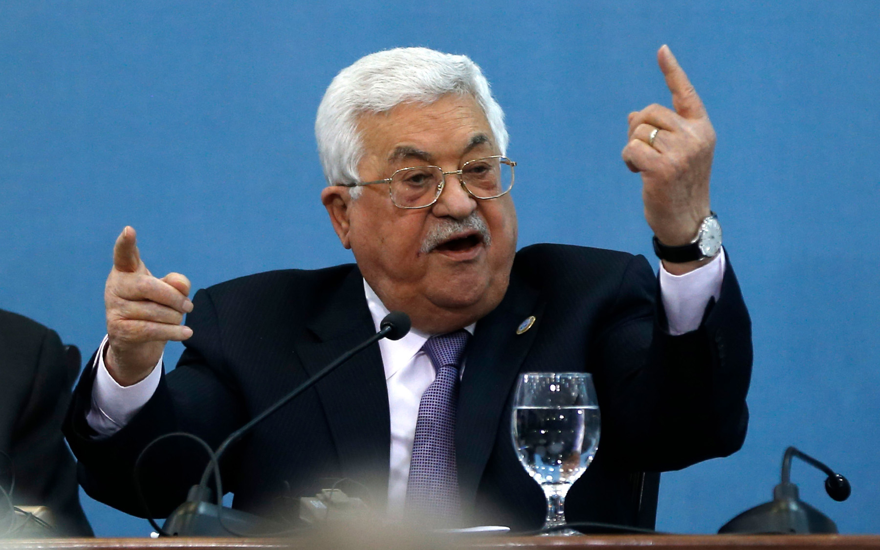 Palestinian President Mahmoud Abbas speaks at the Palestinian Peace and Freedom Forum in Ramallah, February 6. (AFP)
