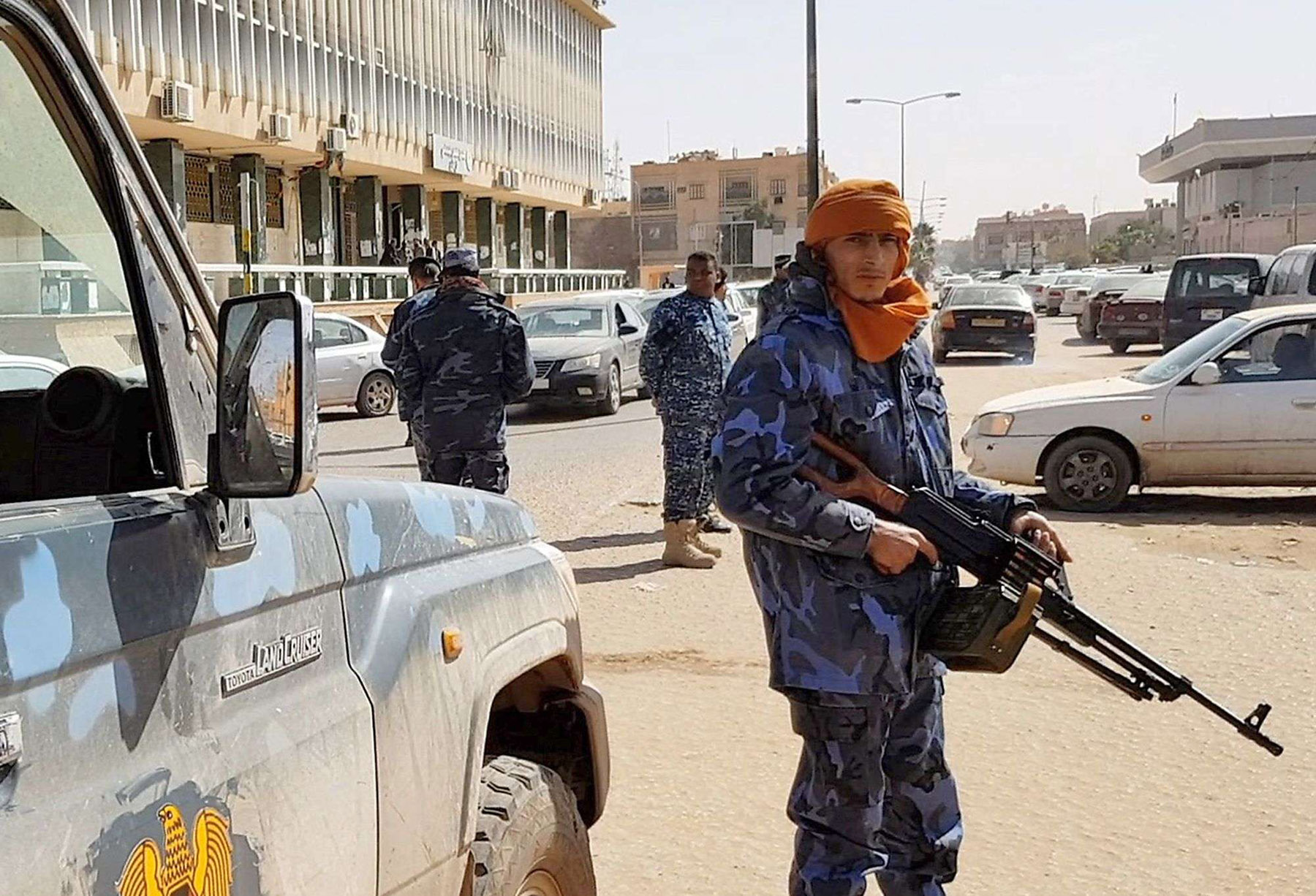 Forces loyal to Libyan Field-Marshal Khalifa Haftar patrol in downtown Sabha, the biggest city in southern Libya, February 6. (AFP)