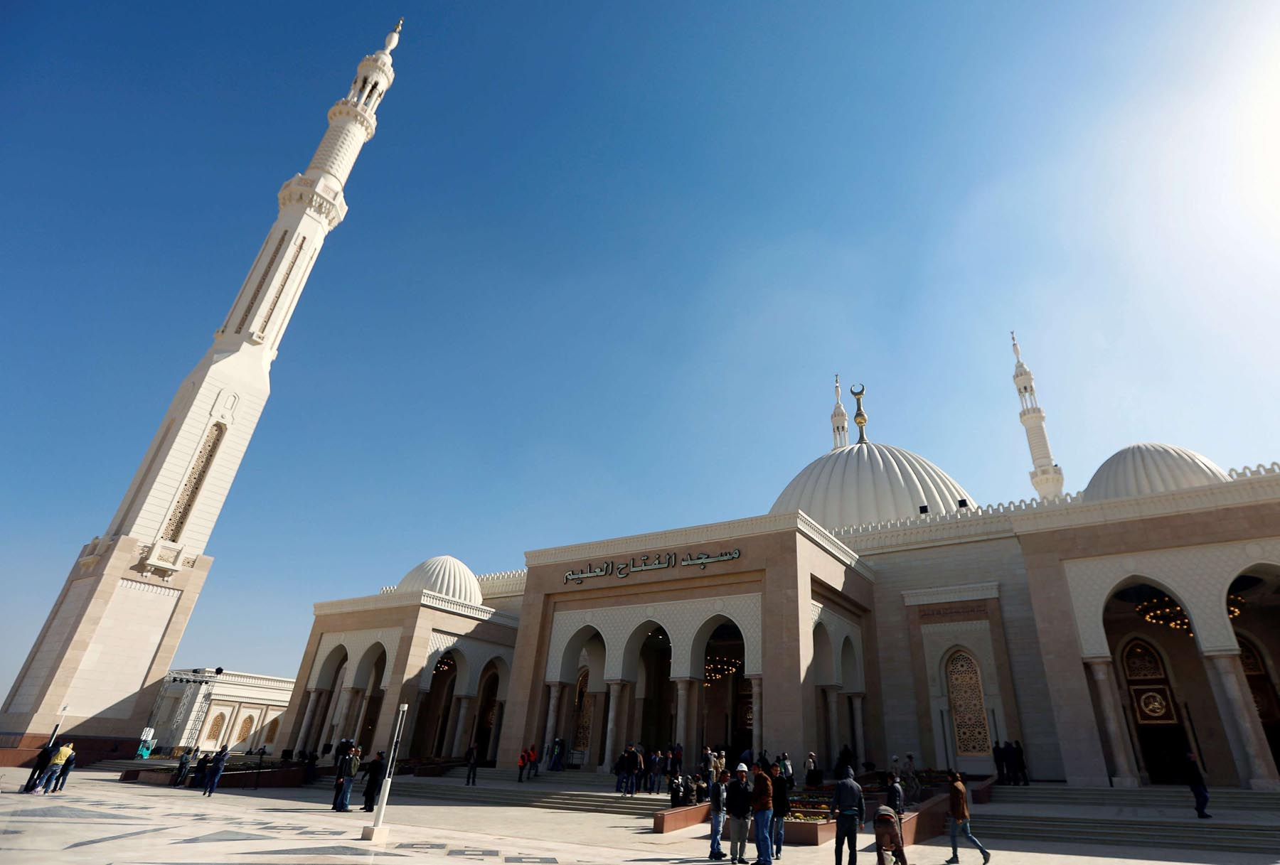 A general view of al-Fattah al-Aleem Mosque in the New Administrative Capital (NAC), 45km east of Cairo. (Reuters)