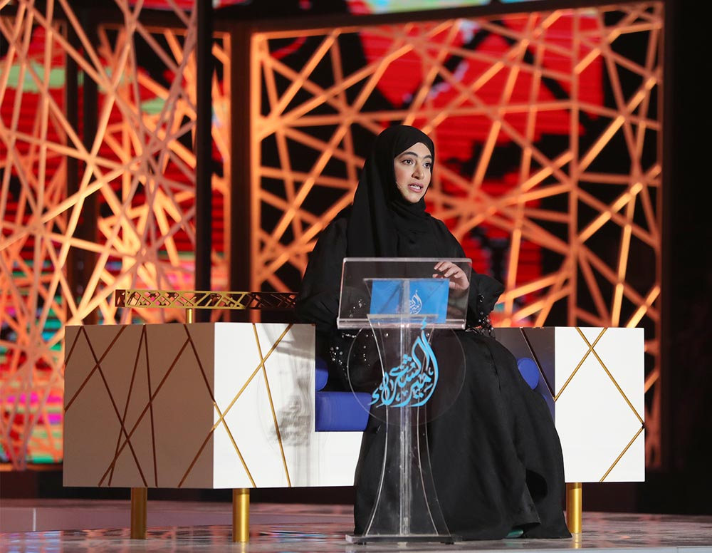 "An art of a thousand colours. Emirati poet Sheikha al-Mtiri recites a poem as she takes part in the eighth season of ""Prince of Poets,"" February 12.       (""Prince of Poets"")"