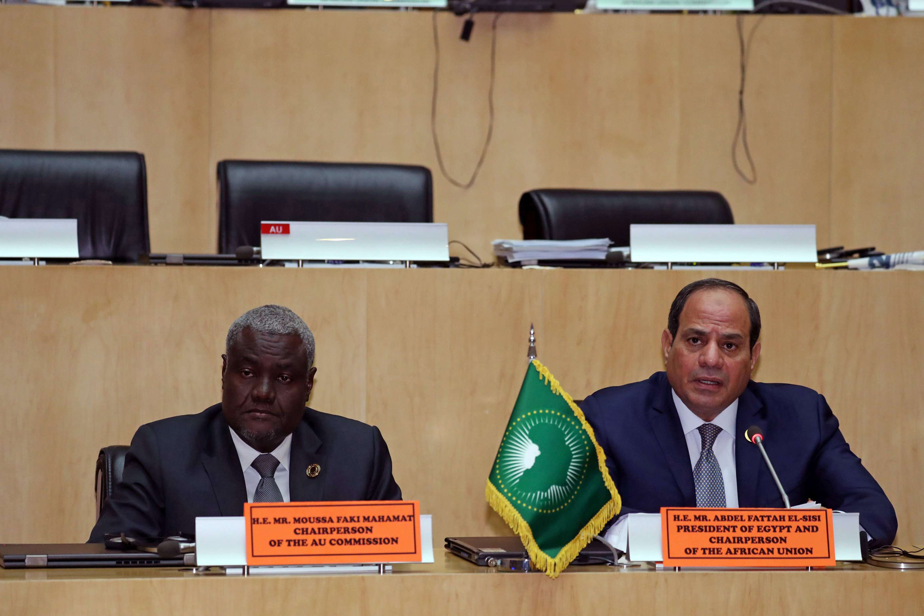 Big plans. Egyptian President Abdel Fattah al-Sisi (R) and the incoming Chairman of the African Union Commission Moussa Faki Mahamat attend a news conference in Addis Ababa, February 11.         (Reuters)