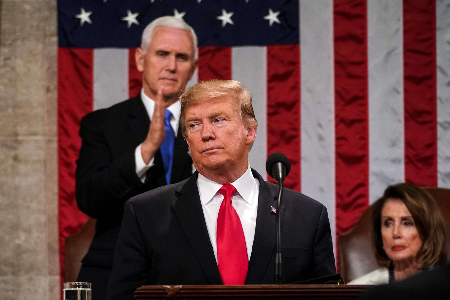 Foreign policy almost forgotten. Trump delivers the State of the Union address, alongside Vice President Mike Pence and Speaker of the House Nancy Pelosi, at the US Capitol in Washington, DC, February 5. (AFP)