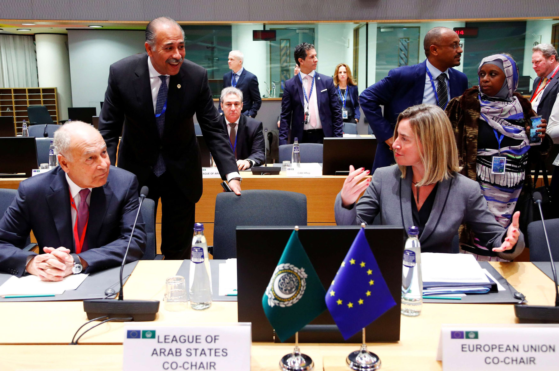 Arab League Secretary-General Ahmed Abul Gheit and EU foreign policy chief Federica Mogherini attend a joint meeting of European Union and League of Arab States foreign ministers in Brussels, Belgium, on February 4, 2019. (AFP)