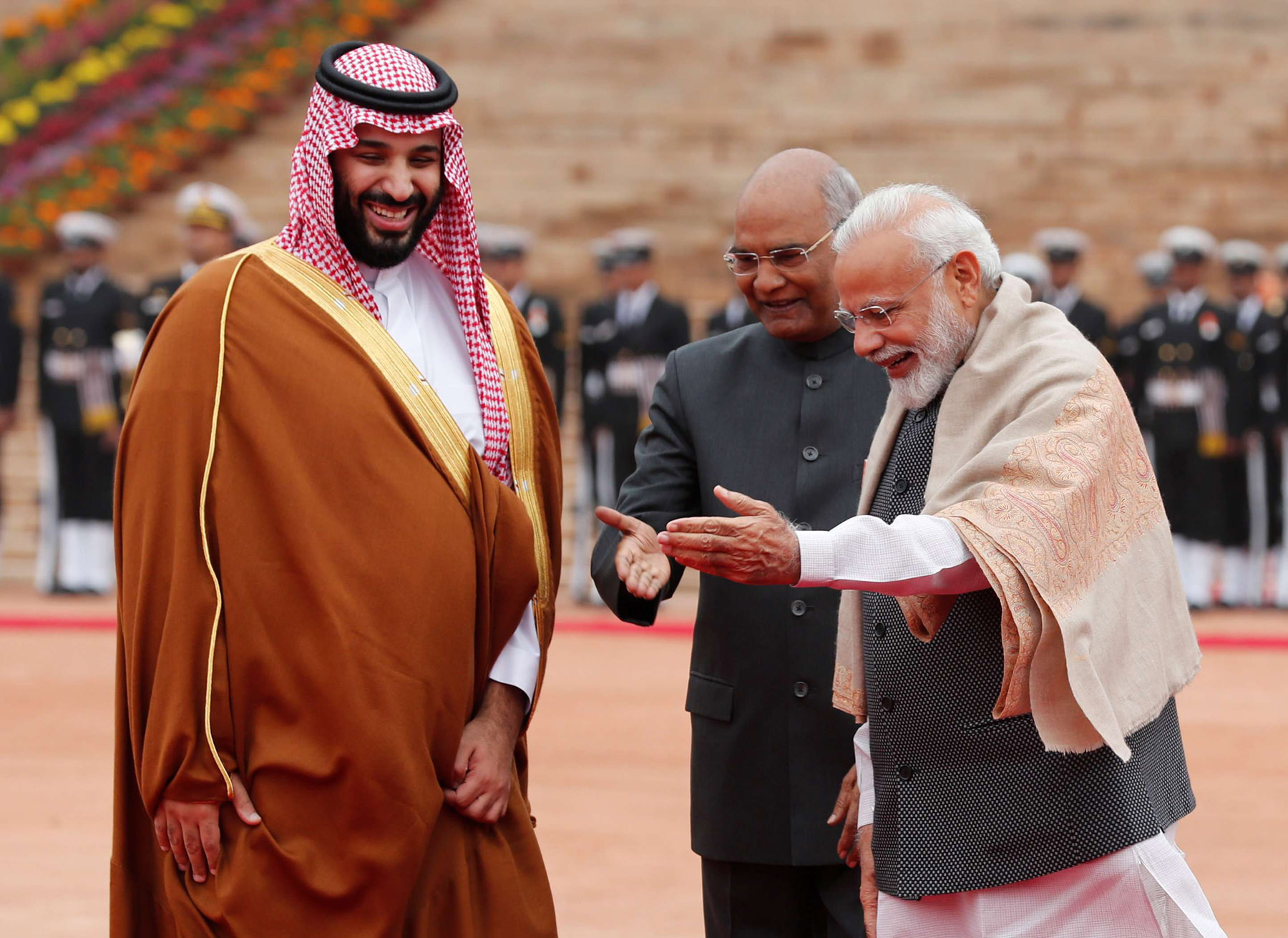 Saudi Crown Prince Mohammed bin Salman bin Abdulaziz (L) is welcomed by India's Prime Minister Narendra Modi and President Ram Nath Kovind at Rashtrapati Bhavan presidential palace in New Delhi, February 20. (Reuters)