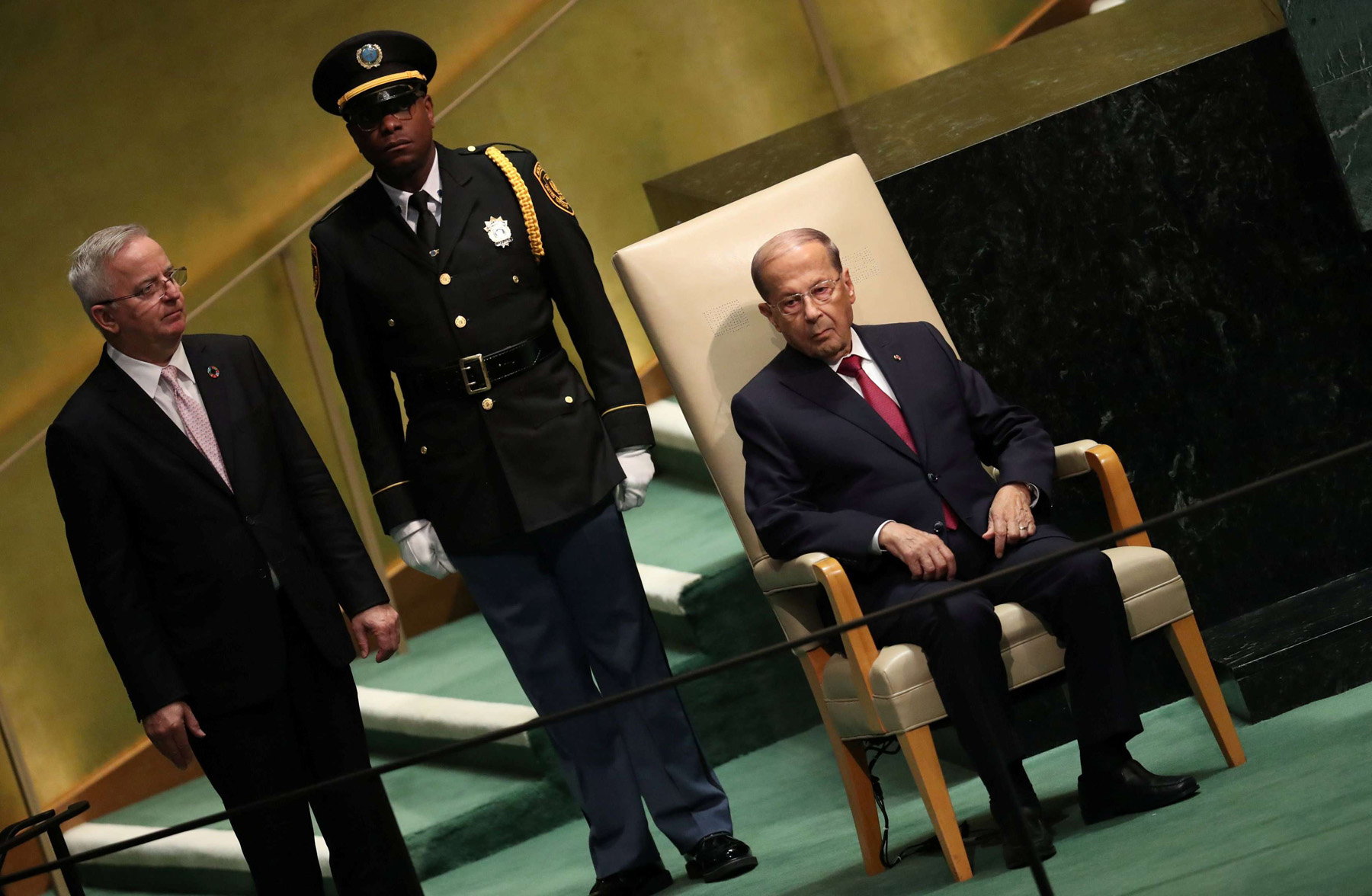 Lebanon's President Michel Aoun sits in the chair reserved for heads of state before delivering his address at UN headquarters in New York, last September. (Reuters)
