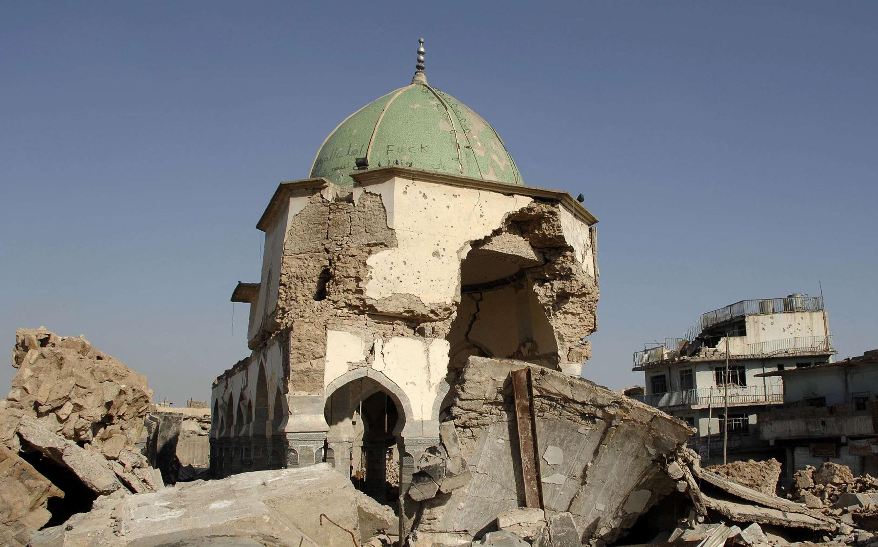 A view of the destroyed Great Mosque of al-Nuri  in Mosul.  (AFP)