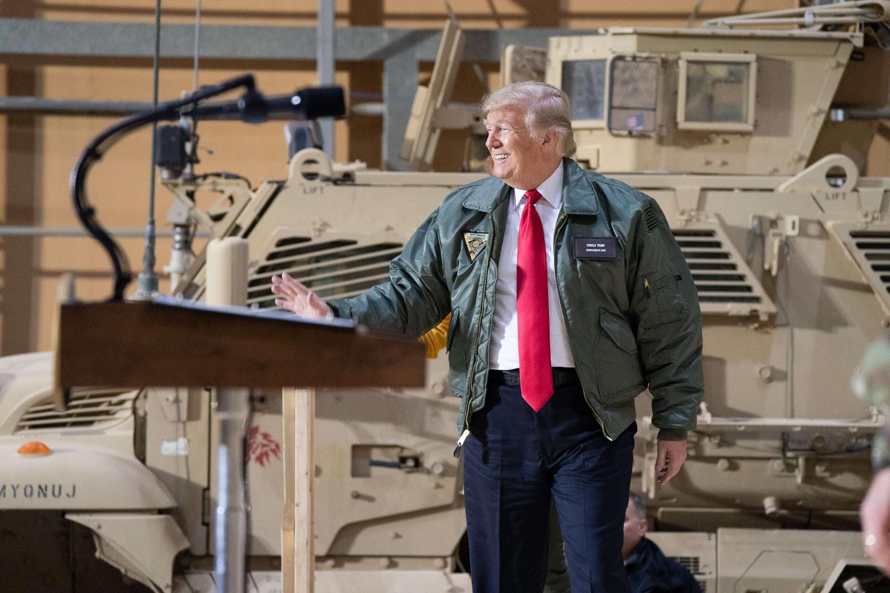 US President Donald Trump speaks to military leadership members during a visit to al-Asad Air Base in Anbar, last December. (DPA)