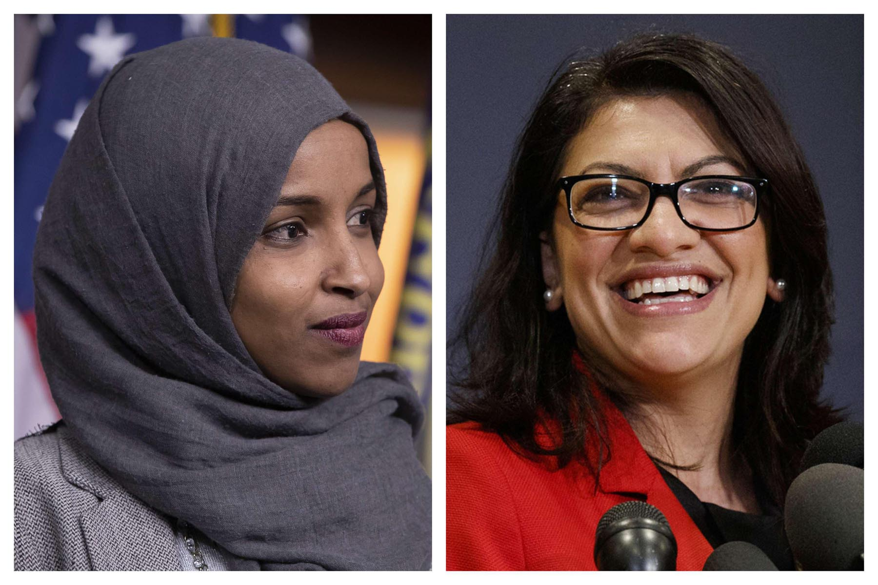 Ilhan Omar (L) and Rashida Tlaib in Washington. (AP)