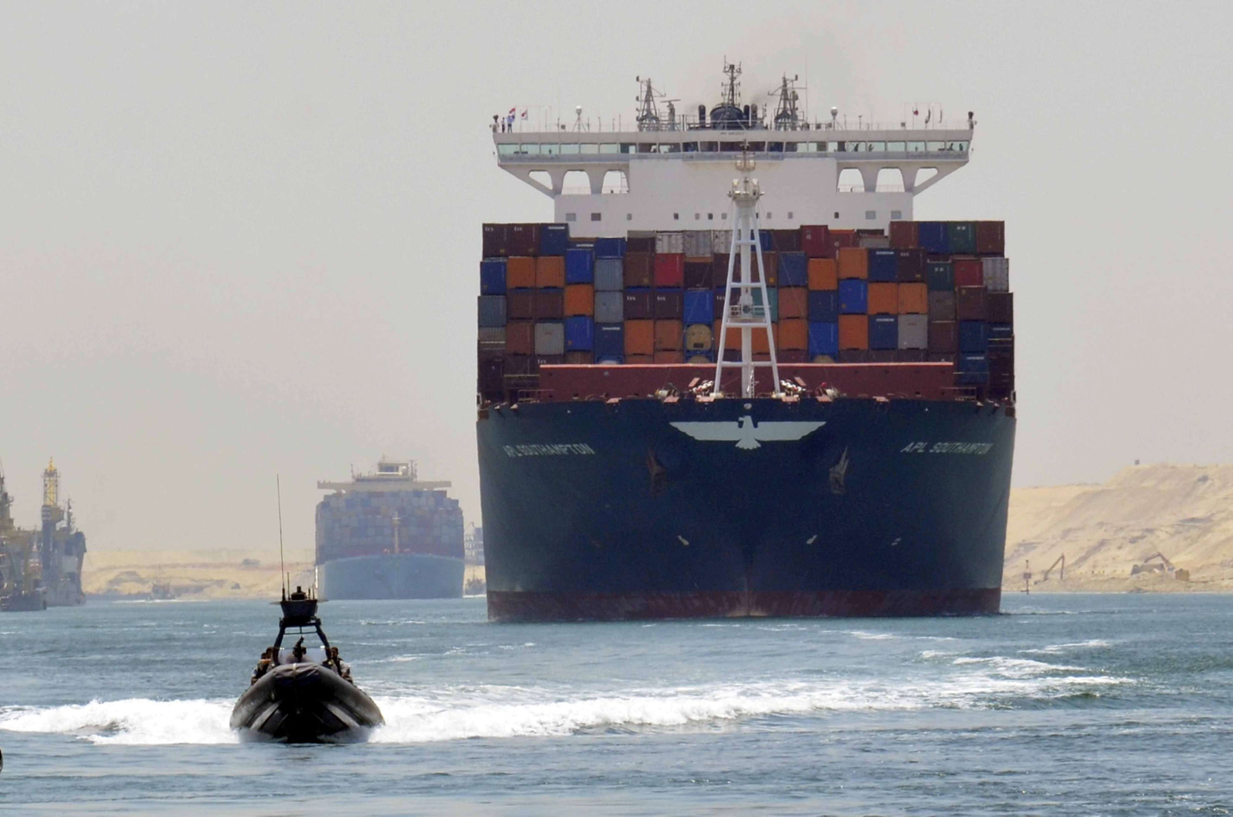 Strategic waterway. A cargo ship is seen crossing through the New Suez Canal in Ismailia.          (Reuters)