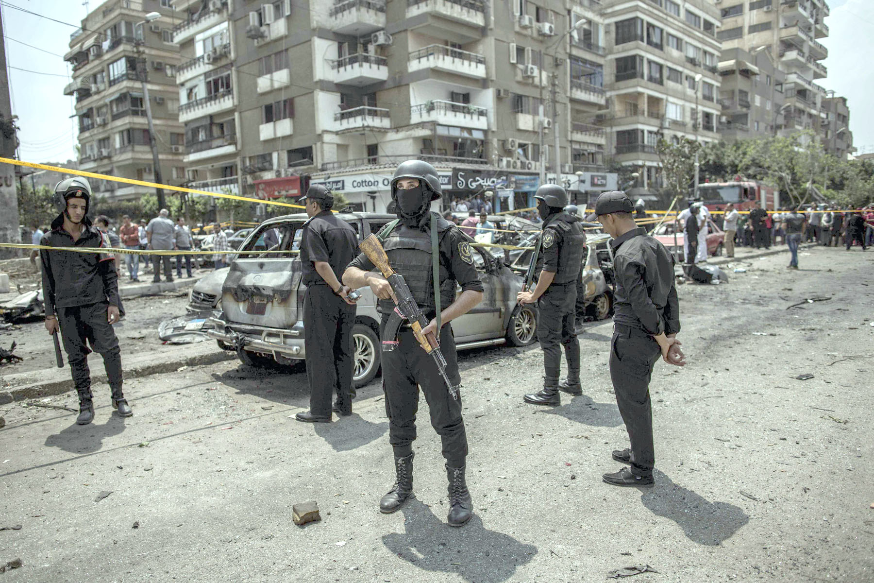 A 2015 file picture shows Egyptian police guarding the site of a bombing that killed Egypt's top prosecutor Hisham Barakat. (AFP)