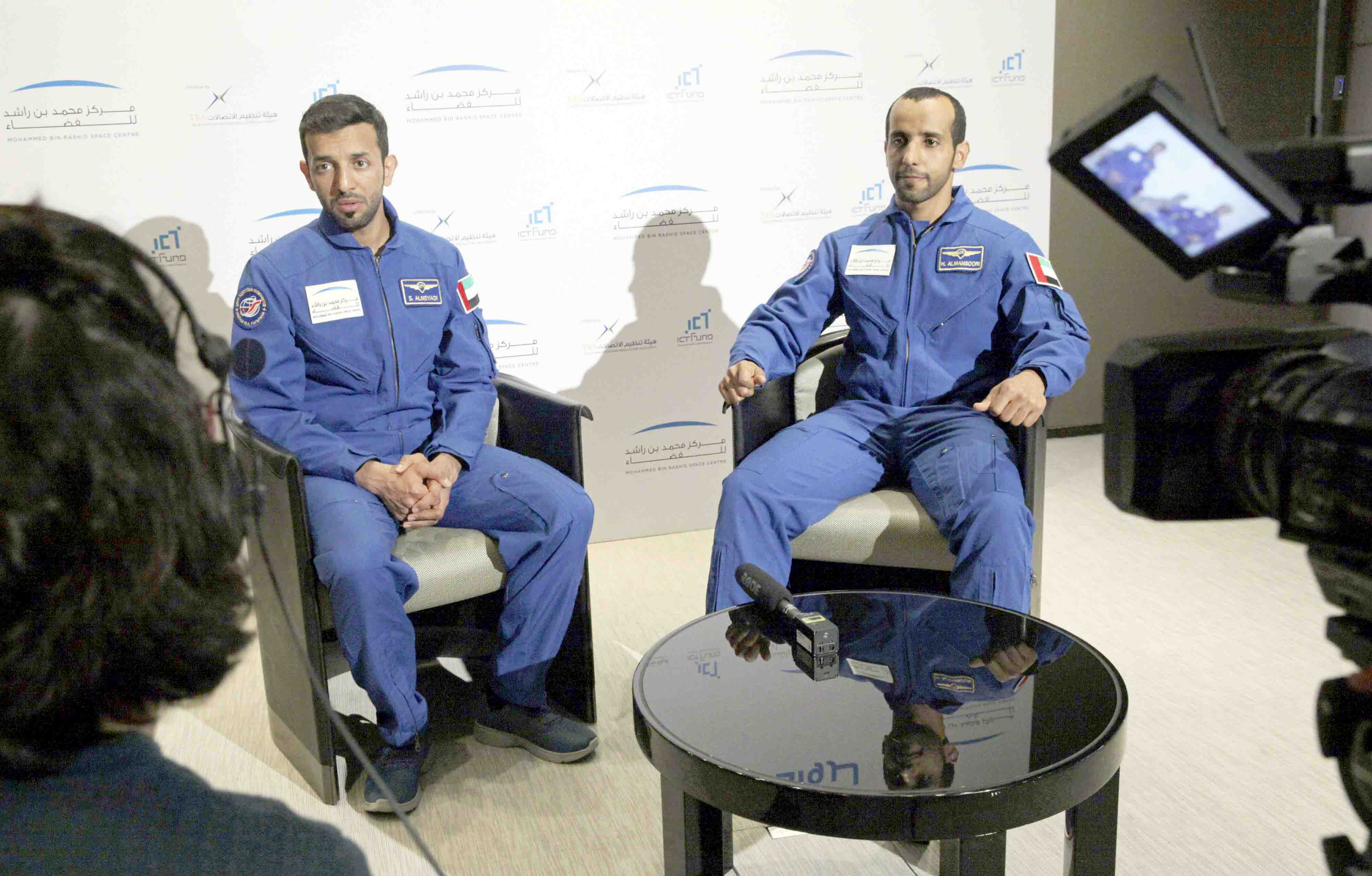 A future beyond Earth. Emirati astronauts Sultan al-Neyadi (L) and Hazza  al-Mansoori during an interview in Dubai, February 25.(AP)