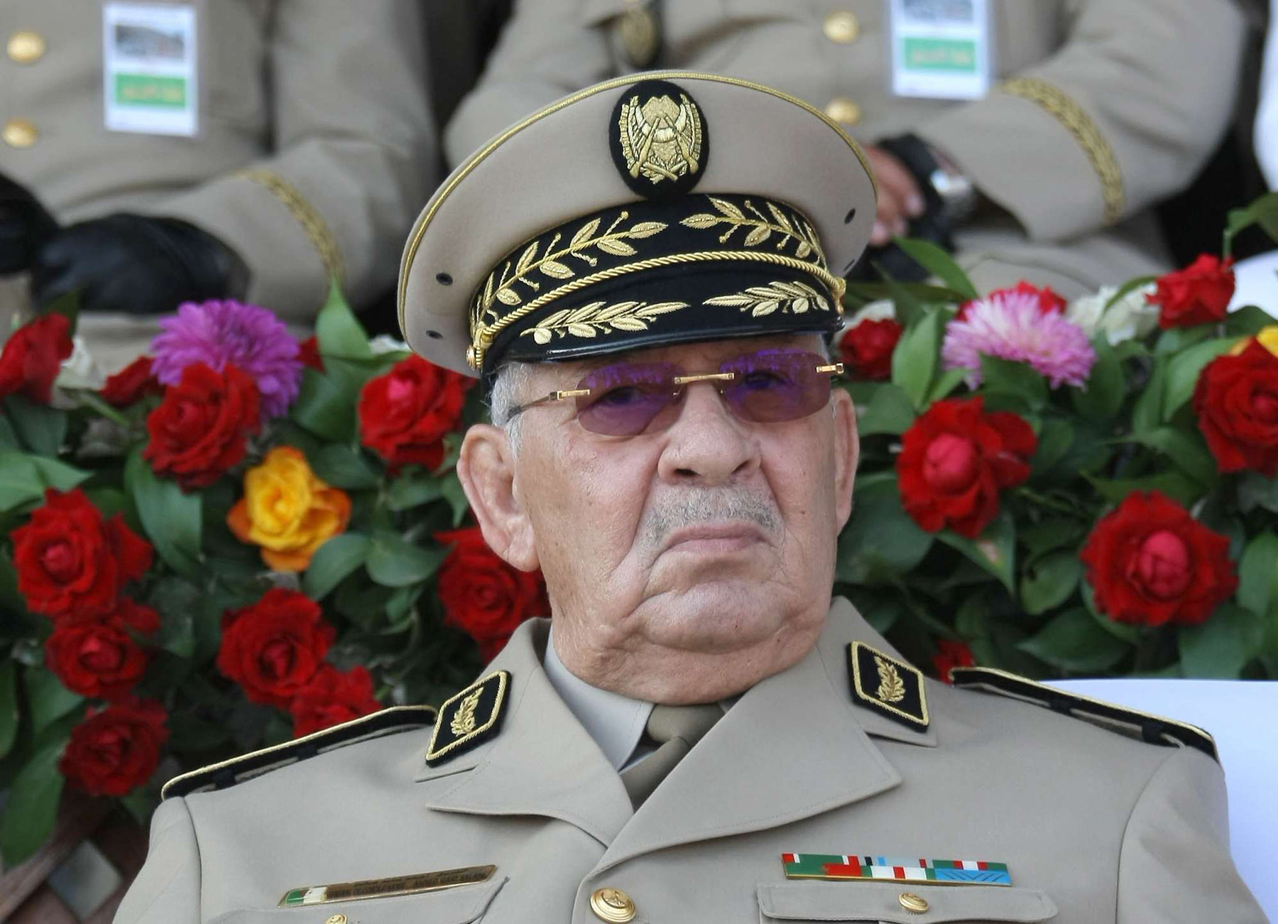 Risky game. Algerian Chief of Staff Ahmed Gaid Salah presides a military parade in Algiers, last July. (AP)