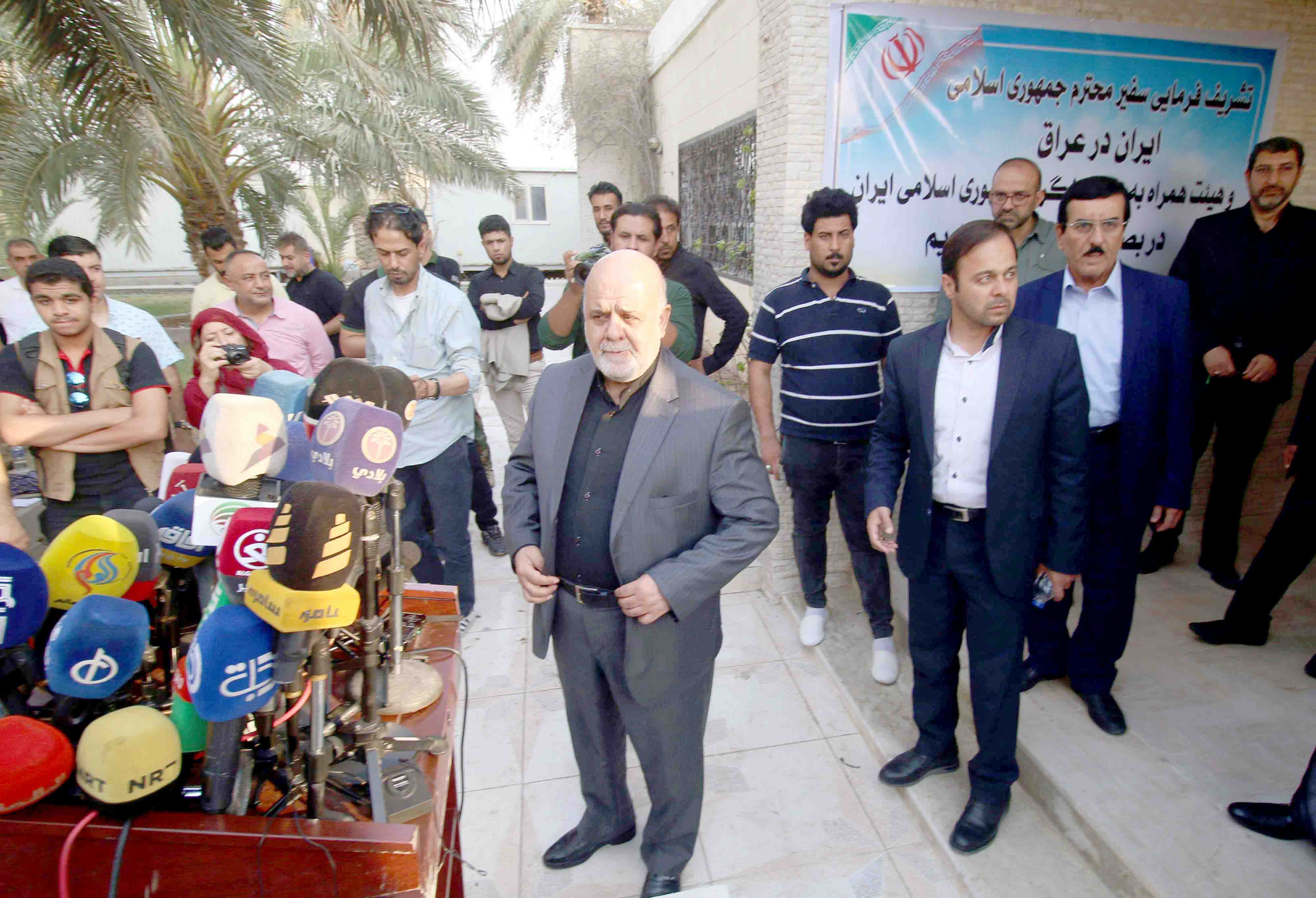 Iranian ambassador in Iraq Iraj Masjedi prepares to speak during a news conference outside the building of the Iranian consulate in Basra, last September. (AFP)