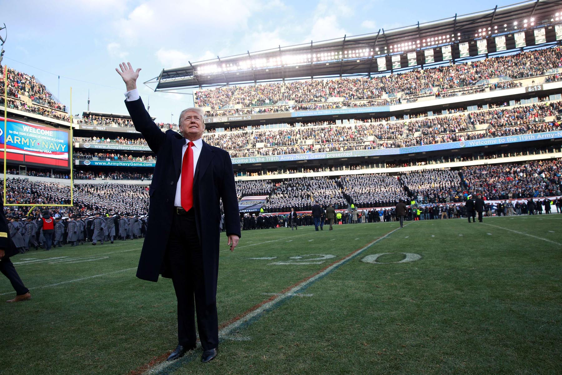 US President Donald Trump waves to the crowd at the 119th Us Army-Navy football game at Lincoln Financial Field in Philadelphia, last December. (Reuters)