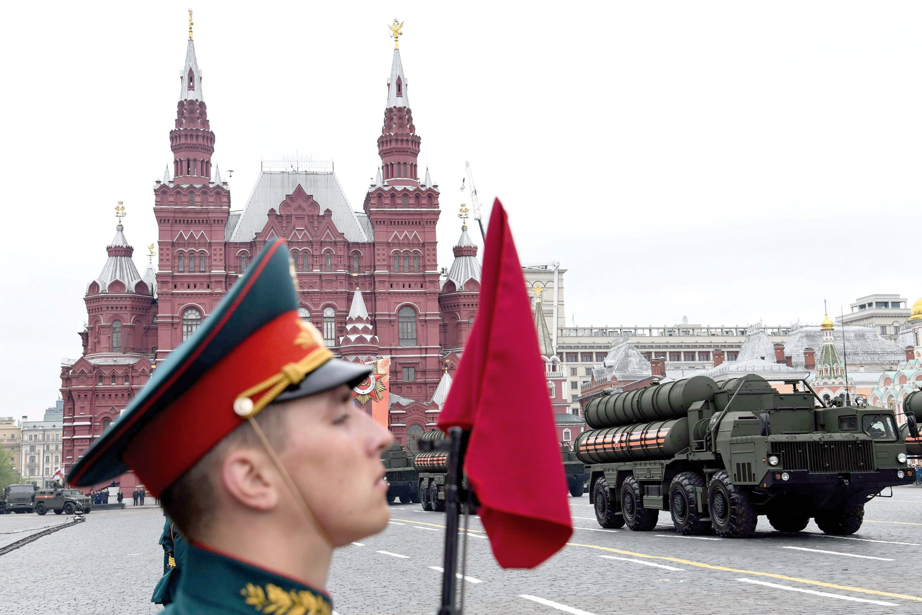 Challenging the US. A Russian S-400 Triumph defence missile system parades through Red Square in Moscow. (AFP)
