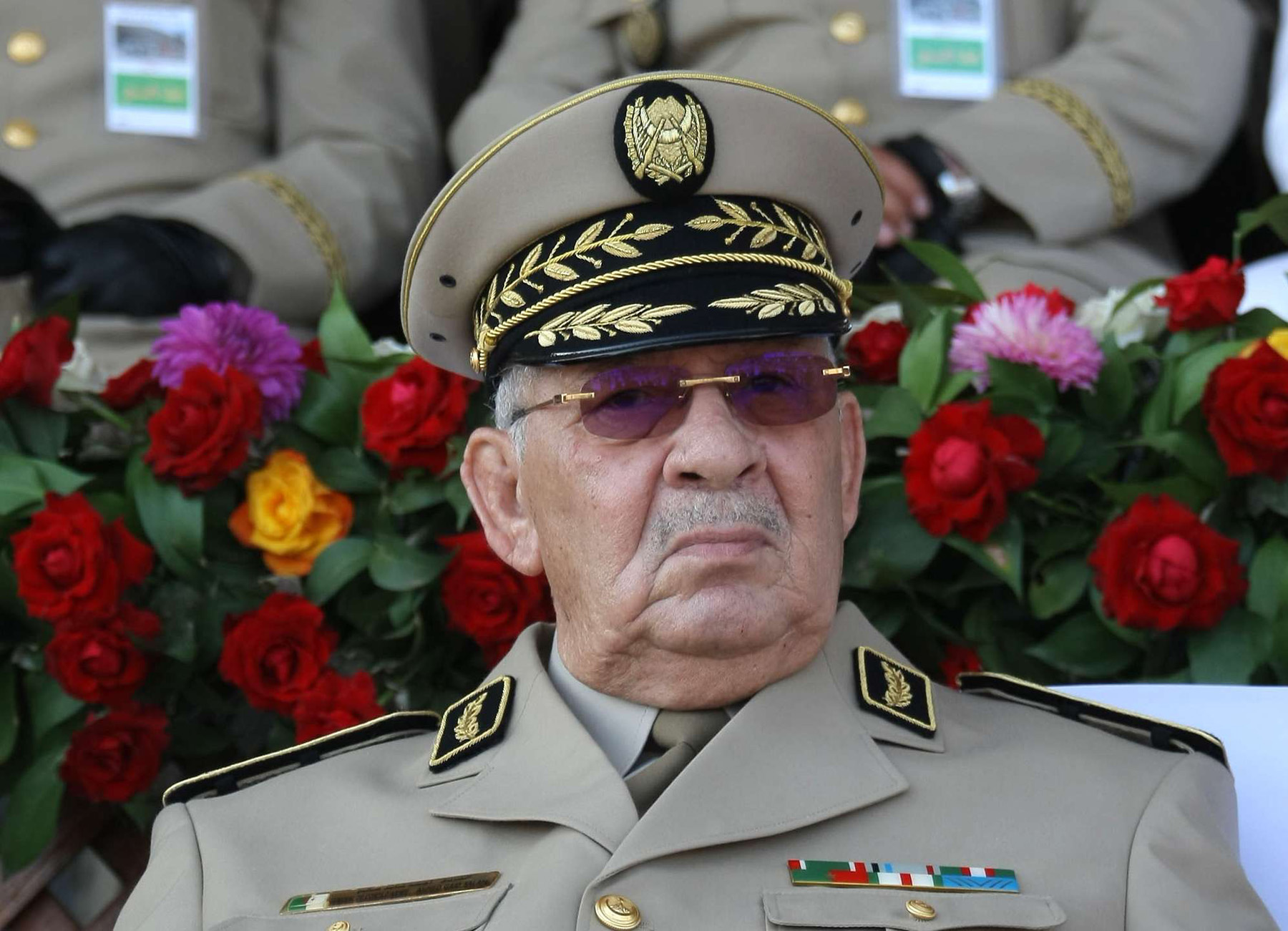 Kingmaker? Algerian Army Chief of Staff Lieutenant-General Ahmed Gaid Salah presides over a military parade in Algiers, last July. (AP)