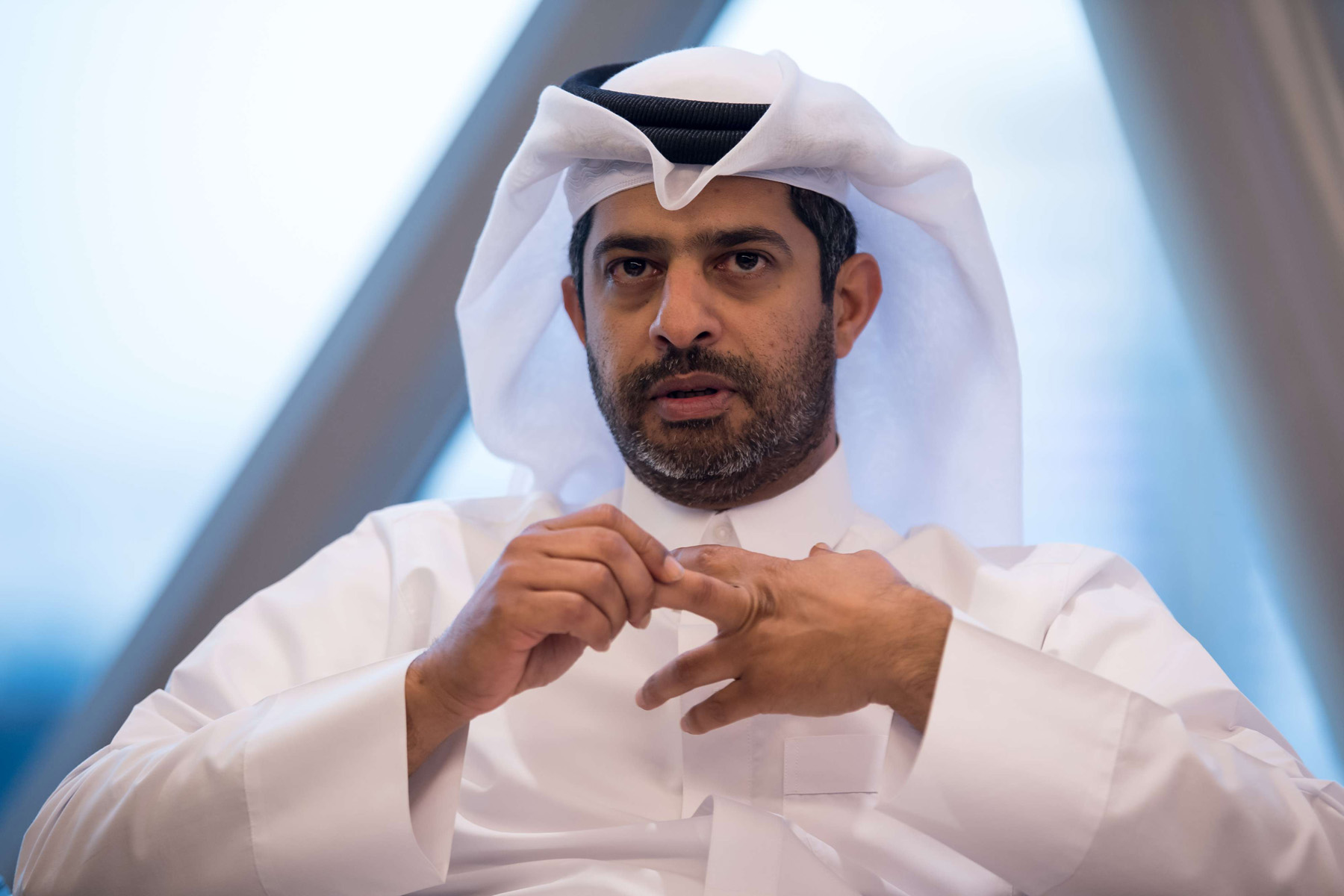 Embarrassing revelations. Deputy CEO of the Qatar 2022 World Cup Local Organising Committee Nasser al-Khater speaks during a news conference, January 9. (dpa)