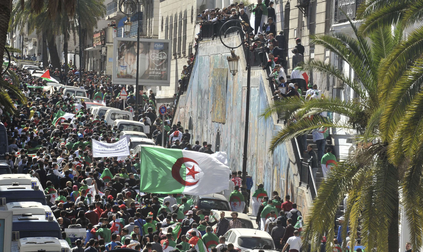 Mass movement. Algerian crowds march during a protest in Algiers, March 15. (AP)