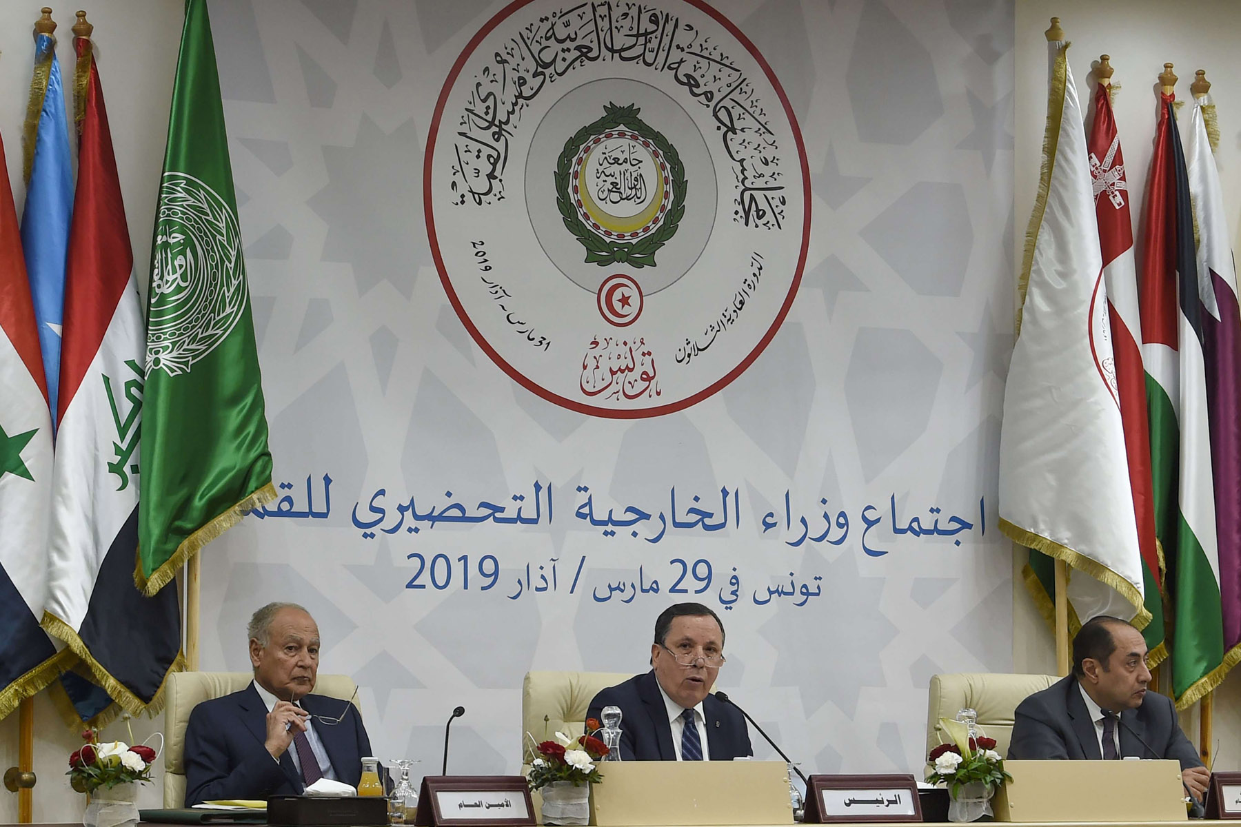 Seeking solutions. Arab League Secretary-General Ahmed Aboul Gheit (L), Tunisia's Foreign Minister Khemaies Jhinaoui (C) and Assistant Secretary-General Ambassador Hossam Zaki attend a preparatory meeting for foreign ministers in Tunis, March 29.              (AFP)