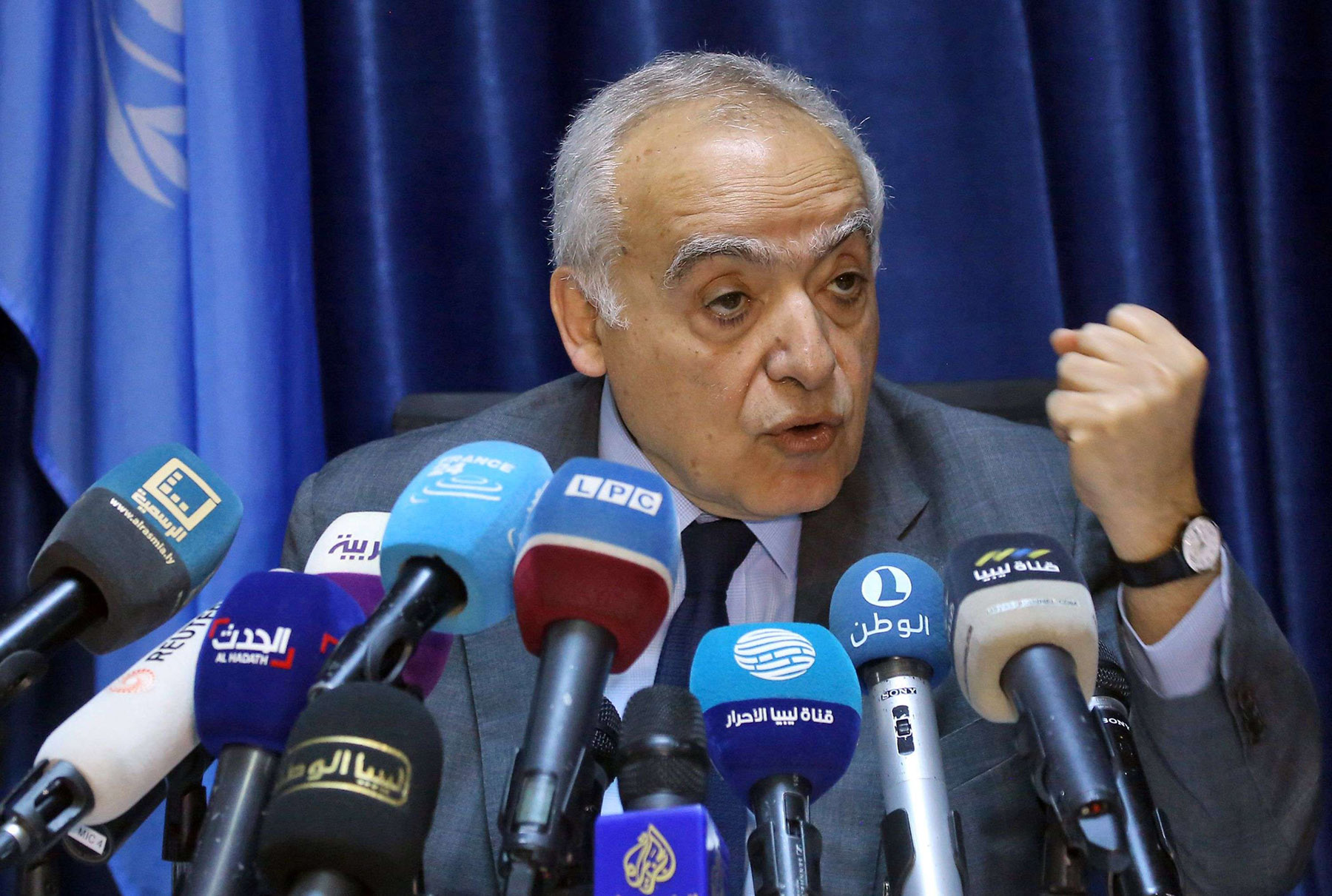 UN Special Envoy to Libya Ghassan Salame delivers a speech in Tripoli, March 20. (AFP)