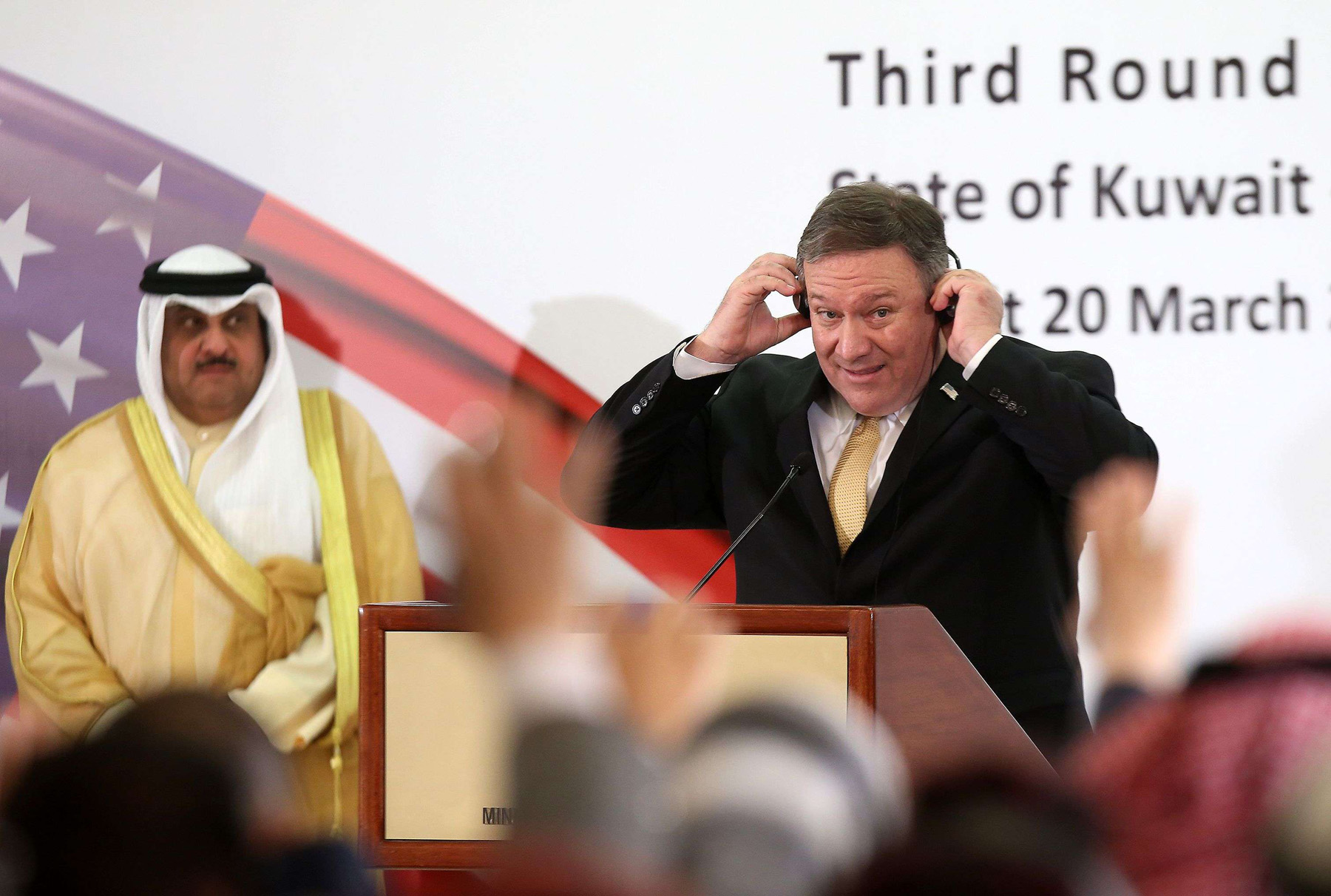US Secretary of State Mike Pompeo (R) attends a news conference with Kuwait's Foreign Minister Sheikh Sabah al-Khalid al-Sabah in Kuwait City, March 20. (AFP)