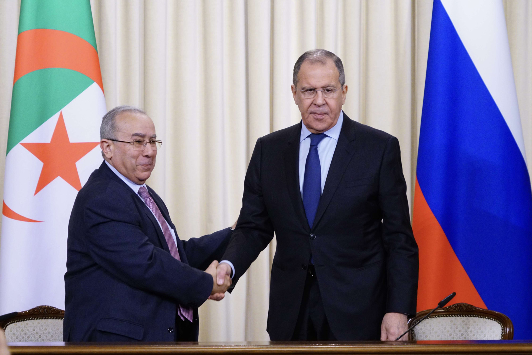 Pleading case abroad. Russian Foreign Minister Sergei Lavrov (R) meets with Algerian Foreign Minister Ramtane Lamamra in Moscow, March 19. (DPA)