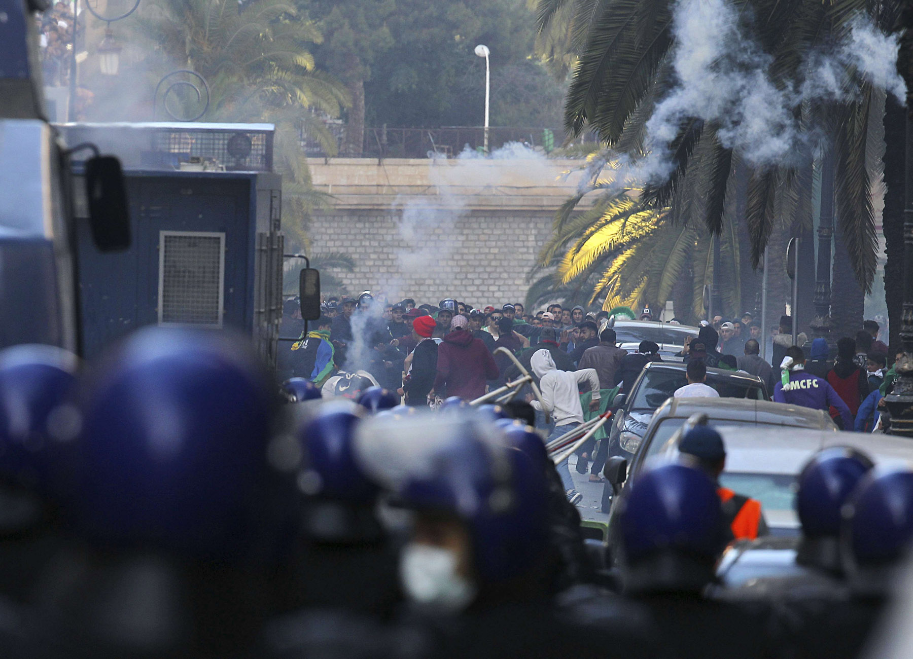 Teargas is used to disperse demonstrators during clashes with police in Algiers, Algeria, March 29, 2019. (AP)