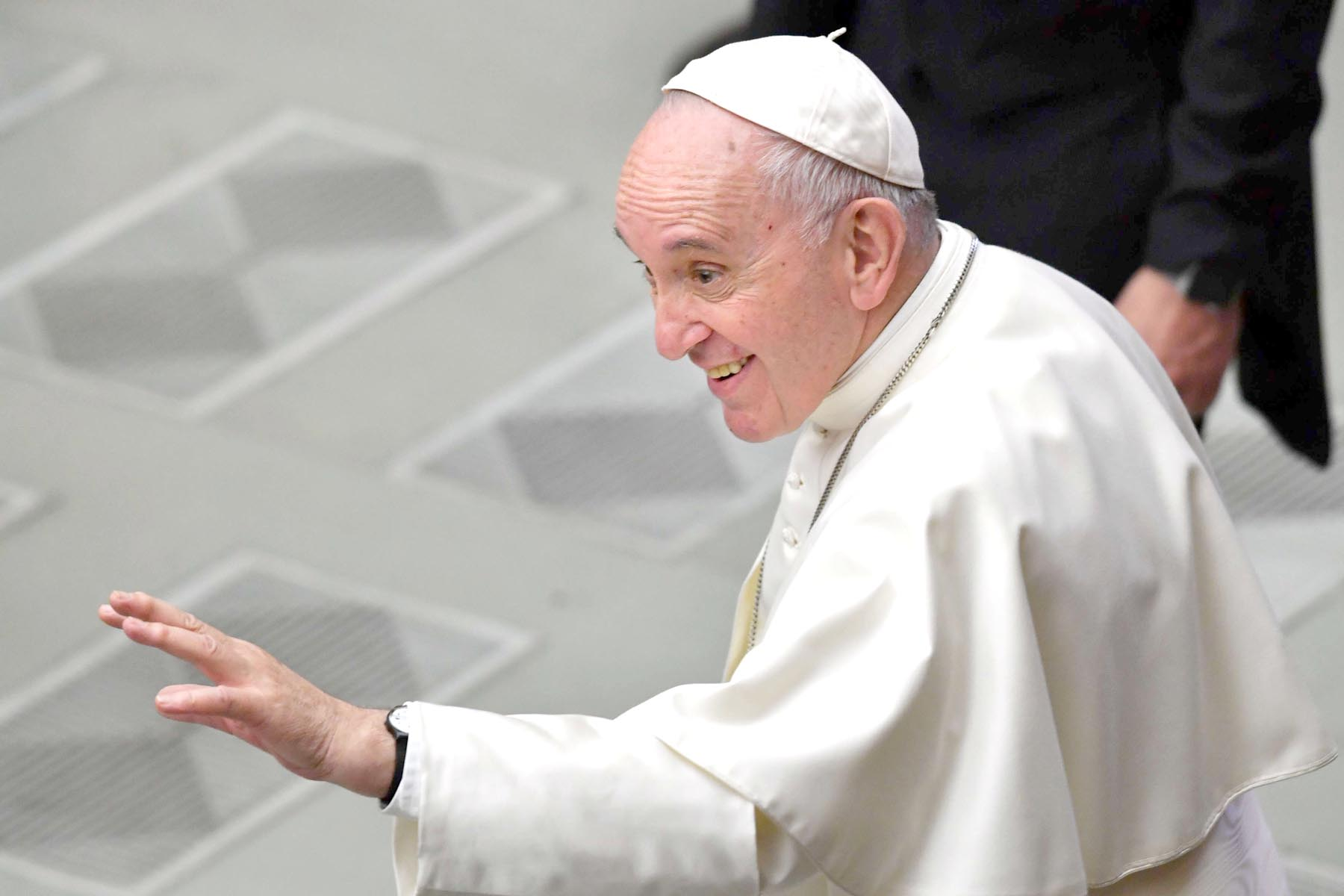 Consolidating the path. Pope Francis gestures towards worshippers at the Vatican, March 16.	   (AFP)