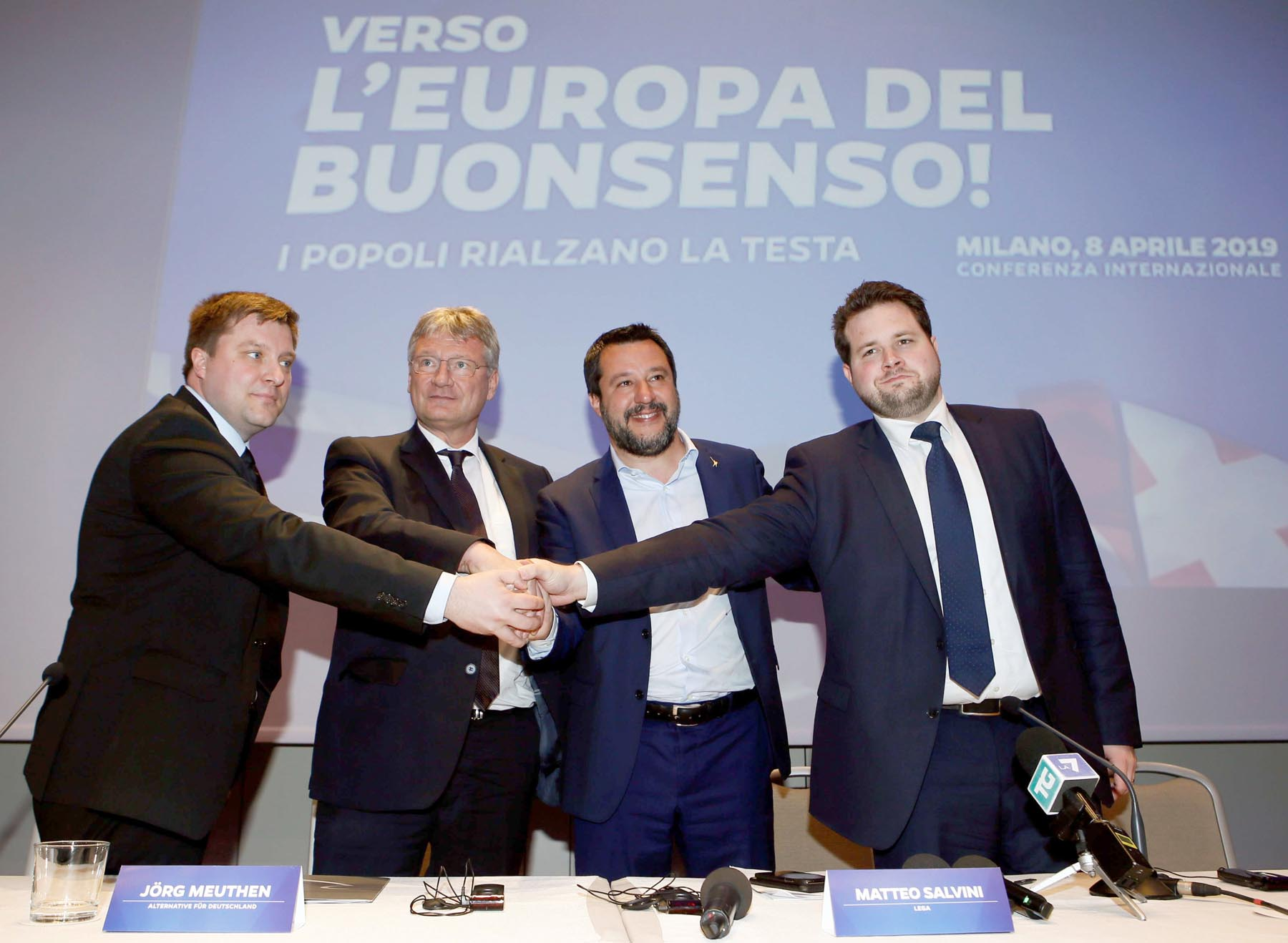 Matteo Salvini (2nd R), leader of the far-right League party, poses with Olli Kotro (L) from the Finnish ECR party, Joerg Meuthen (2nd L) from the German EFDD party and Anders  Vistisen from the Danish ECR party, as he launches the start of his campaign for the European  elections, in Milan, April 8. (Reuters)