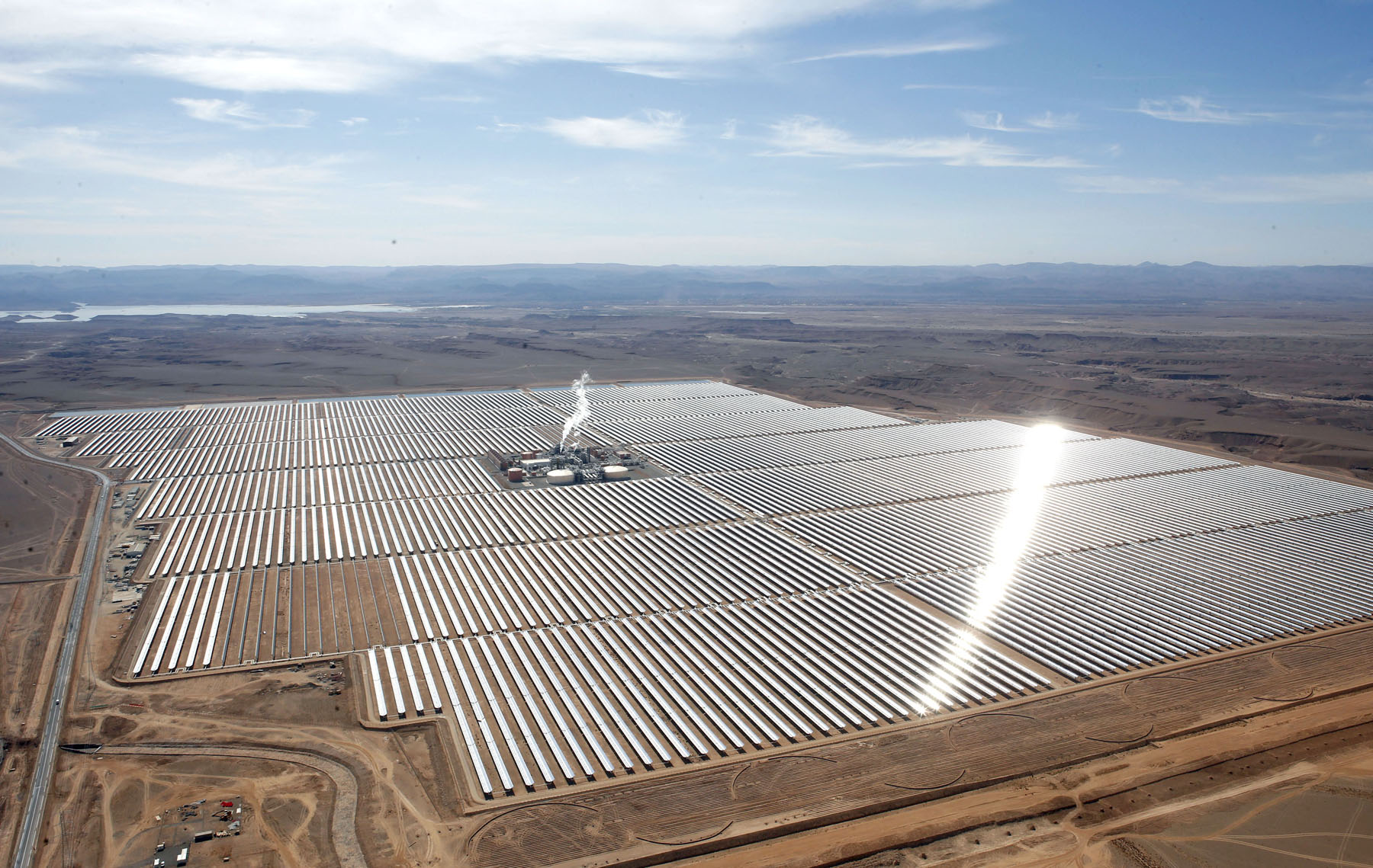 Growing push. An aerial view of the solar plant of Ouarzazate in central Morocco.   (AP)