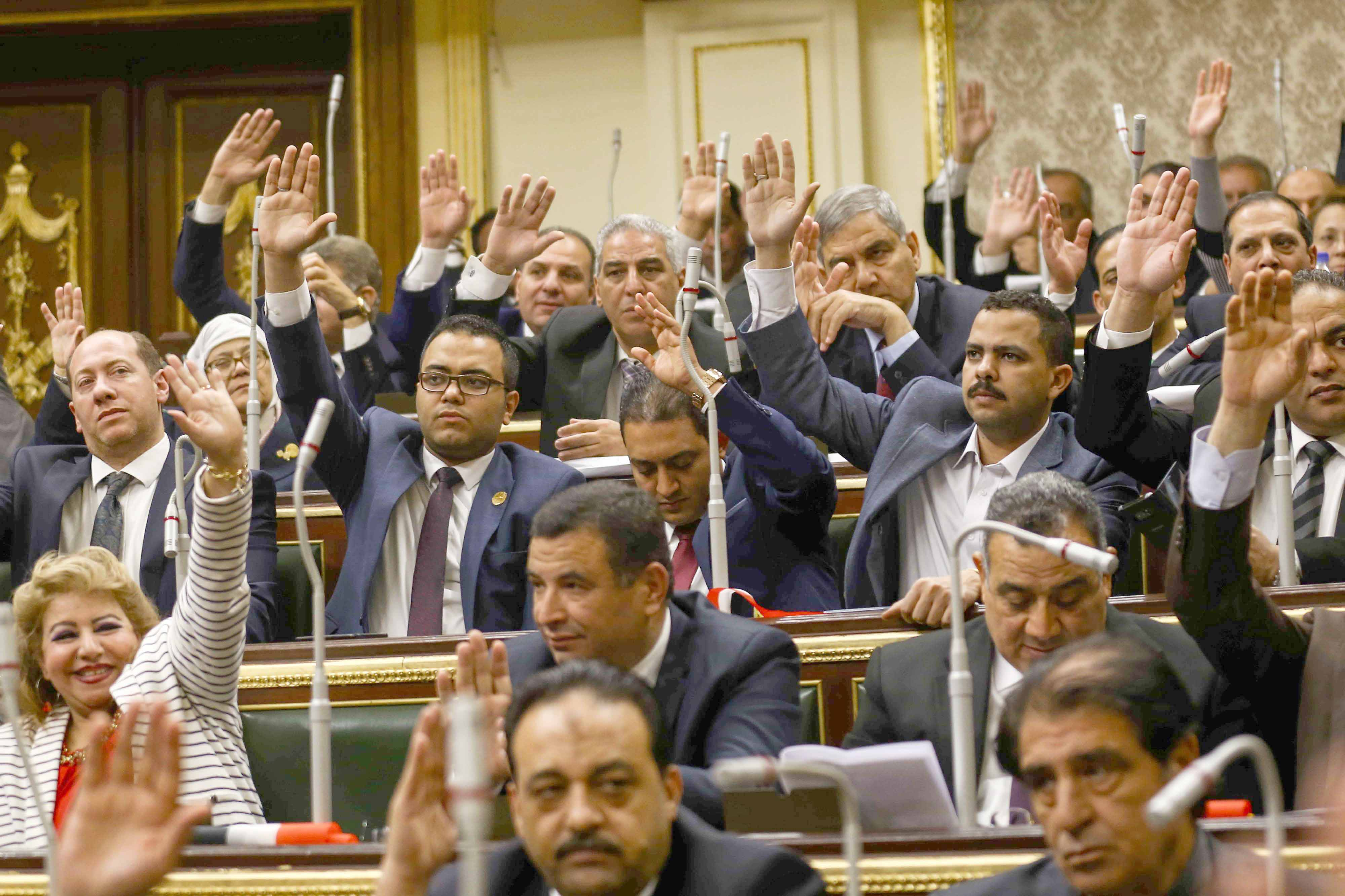 A vote for stability. Egyptian MPs vote during a parliament session on proposed constitutional amendments, April 16. (DPA)