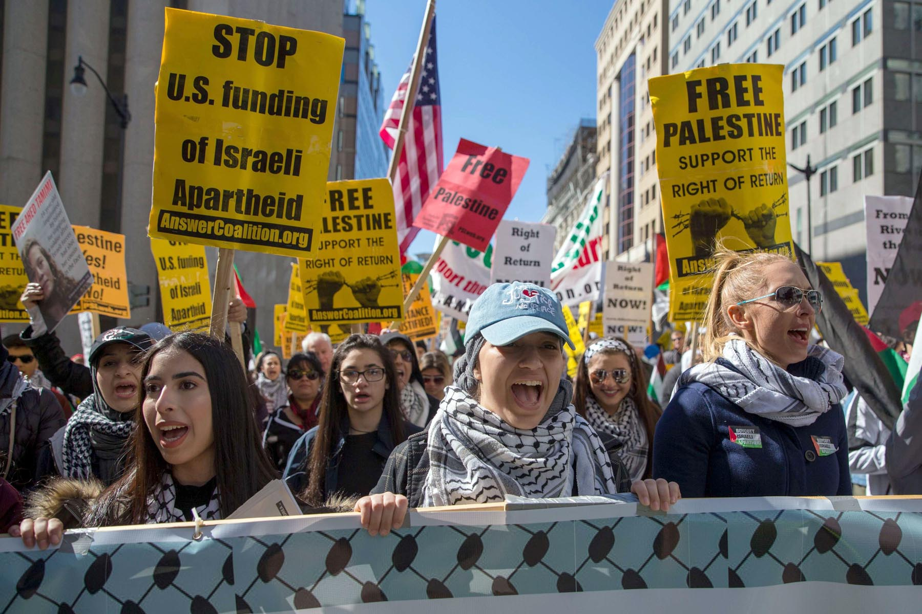 Unheard voices. Protesters march outside the White House in Washington during a rally to support Palestinians, last March. (AFP)