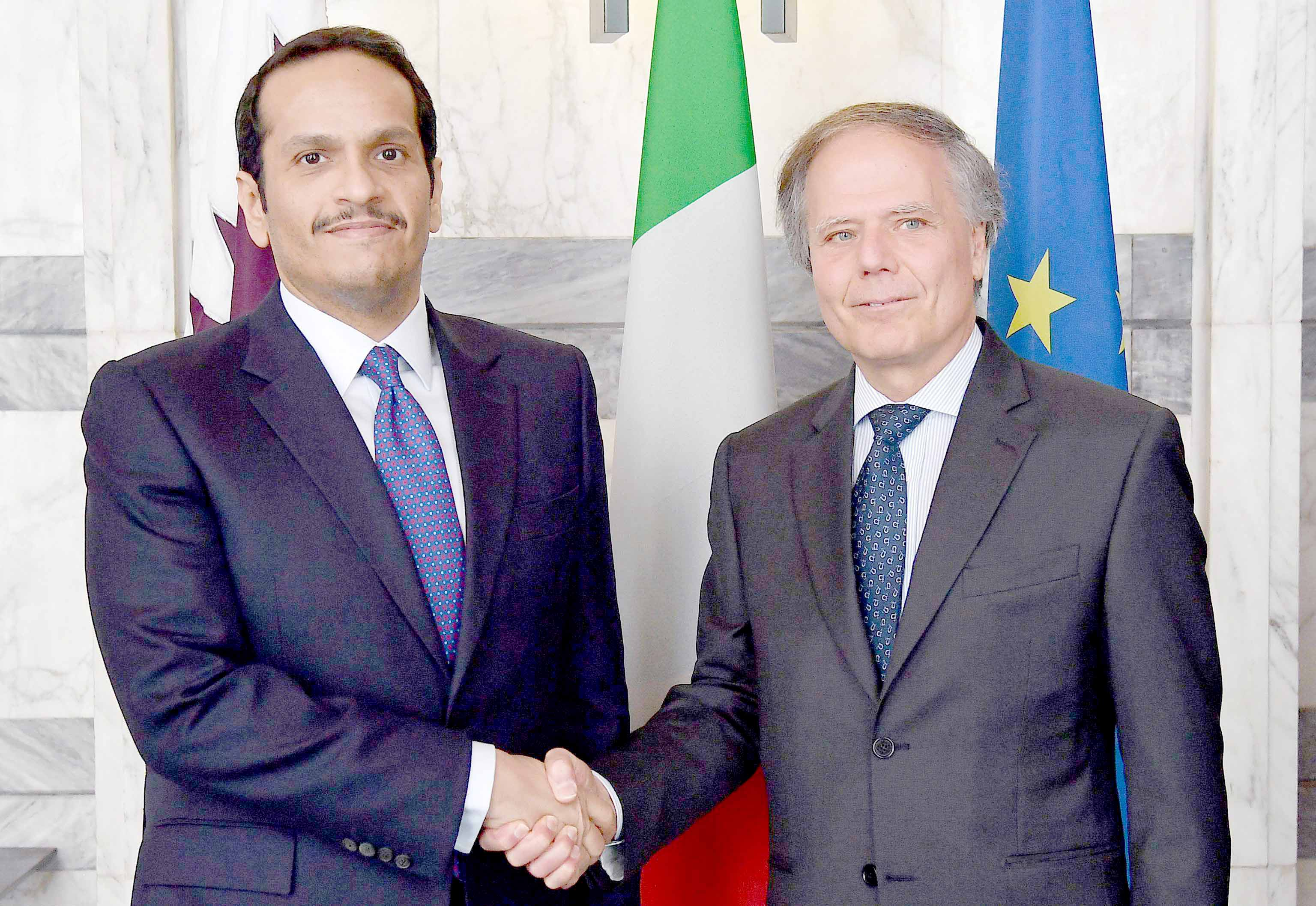Stirring the pot. Italian Minister for Foreign Affairs Enzo Moavero Milanesi (R) meets with Qatari Deputy Prime Minister and Foreign Minister Sheikh Mohammed bin Abdulrahman bin Jassim al-Thani in Rome, April 15.(ANSA)