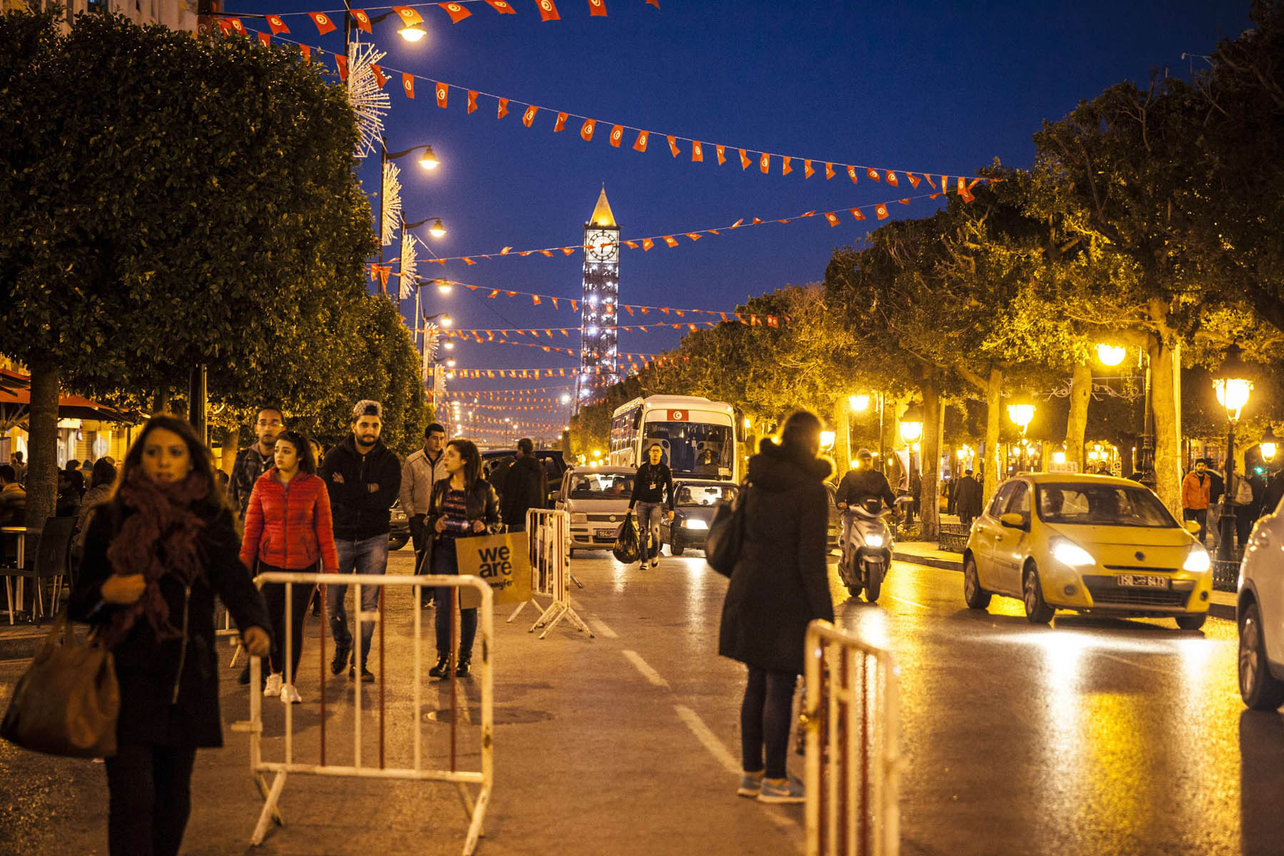 This photo dated, Thursday, February 2, 2017 shows the Habib Bourguiba avenue which is the central thoroughfare of Tunis and considered the historical political and economic heart of Tunisia. (AP)