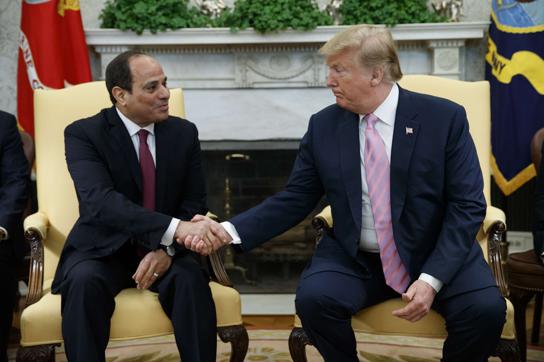 President Donald Trump meets with Egyptian President Abdel Fattah el-Sisi in the Oval Office of the White House, Tuesday, April 9, 2019, in Washington. (AP)