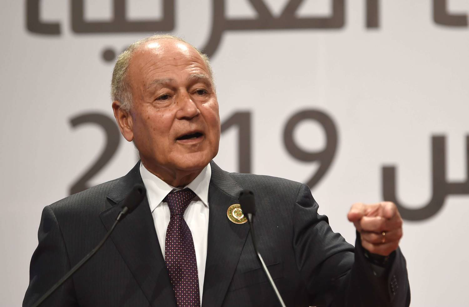 Arab League chief Ahmed Aboul Gheit speaks at a press conference after the closing the 30th Arab Summit, in the capital Tunis, on March 31, 2019. (AFP)