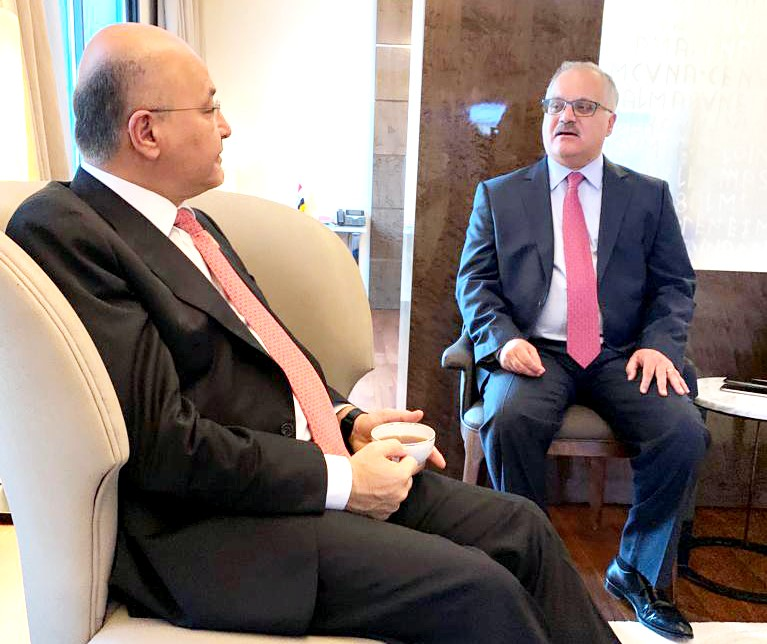 Iraqi President Barham Salih (L) during an interview with Dr Haitham El-Zobaidi at the Movenpick Hotel du Lac in Tunis. (Al Arab)