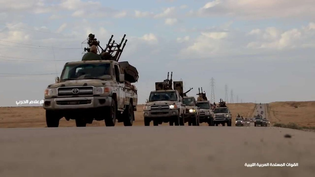 Military convoys of the  Libyan National Army head towards western Libya, April 3. (LNA War Information Division)