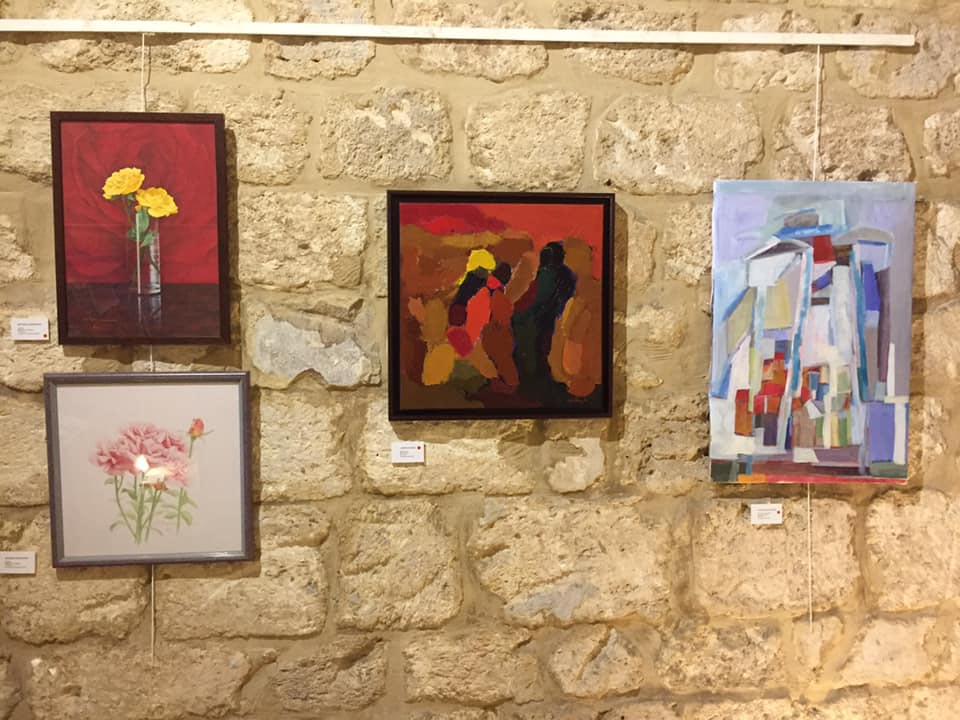 Paintings on display at the Koudourat exhibition in Beirut. (Courtesy Rania Halaw)