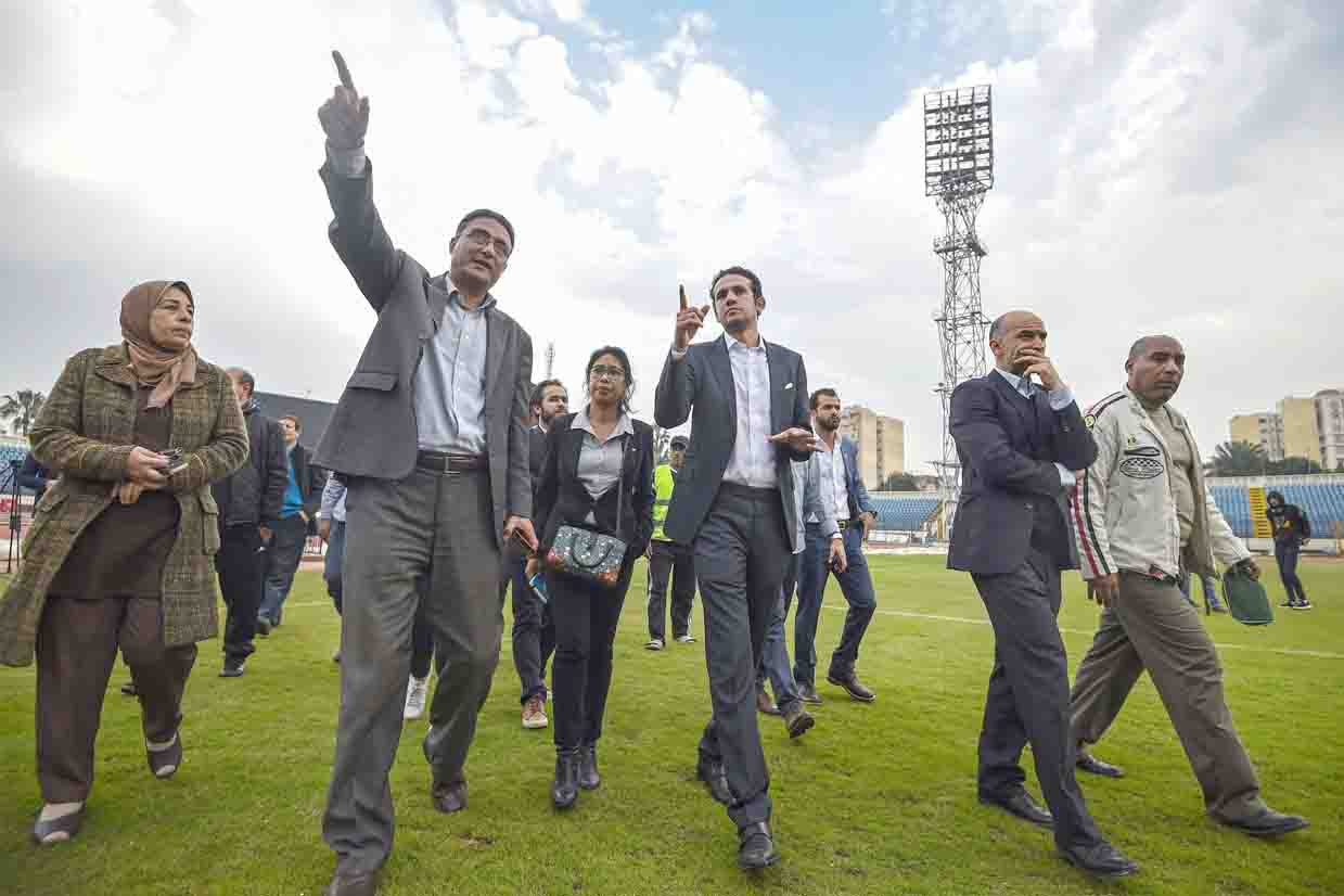 A new opportunity. Executive Director of the 2019 Africa Cup of Nations Mohamed Fadl (3rd R) and a delegation of the African Football Confederation inspect the Stadium of Alexandria, last February. (AFP)