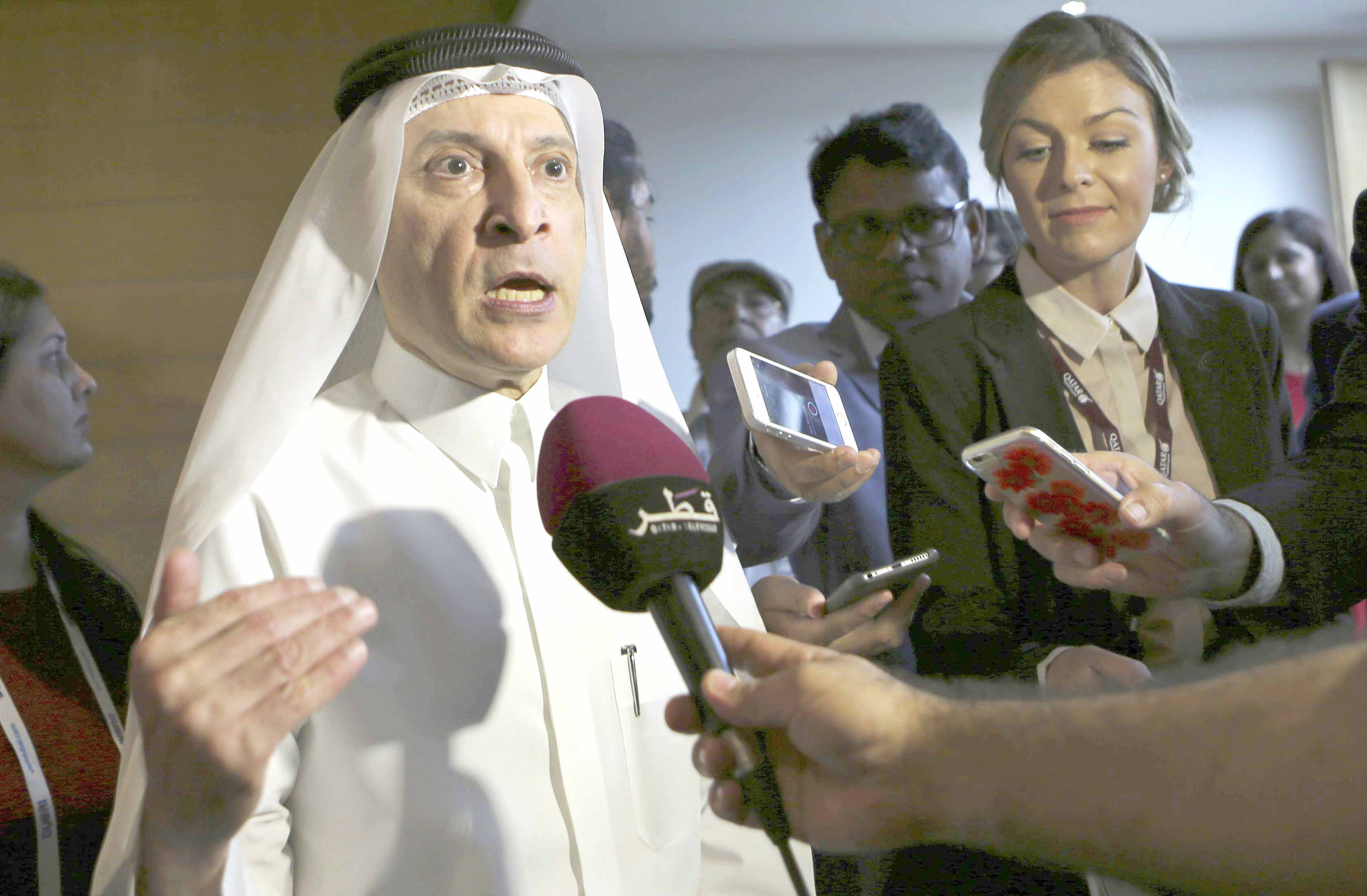 A 2017 file picture shows Akbar al-Baker, secretary-general of the Qatar National Tourism Council and the CEO of Qatar Airways, speaking at a news conference. (AP)