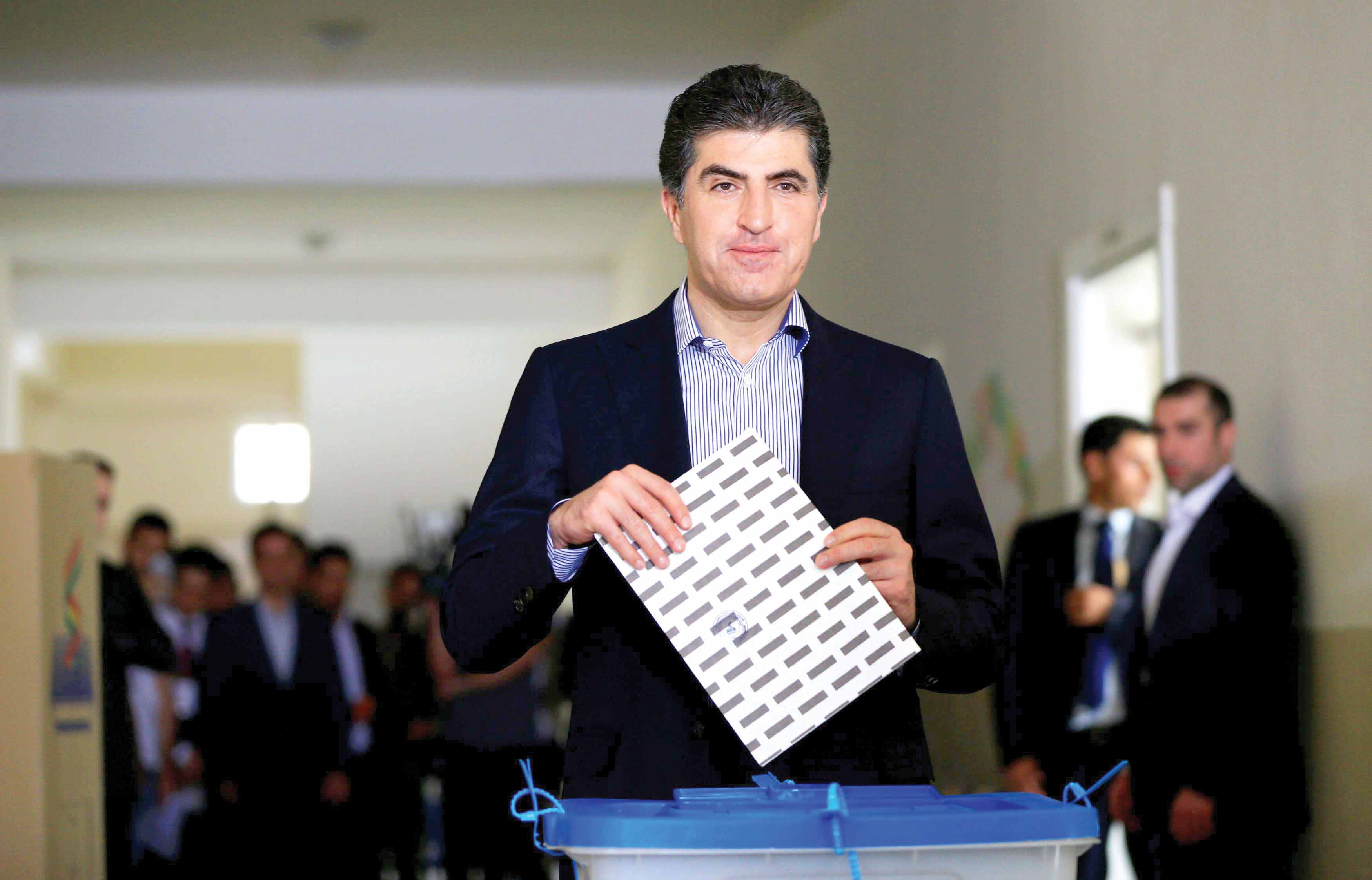Nechirvan Barzani, deputy leader of the Kurdistan Democratic Party, casts his vote at a polling station in Erbil, last September. (Reuters)
