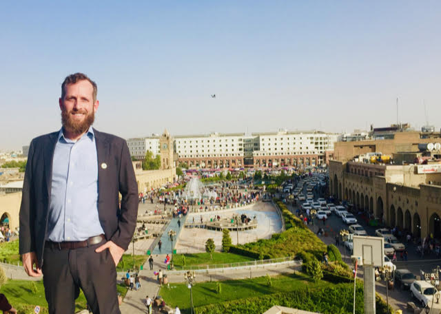 Hopes and challenges. Bryan Gibson, of Hawaii Pacific University, poses for a photo in the Iraqi city of Erbil.        (Courtesy of Bryan Gibson)