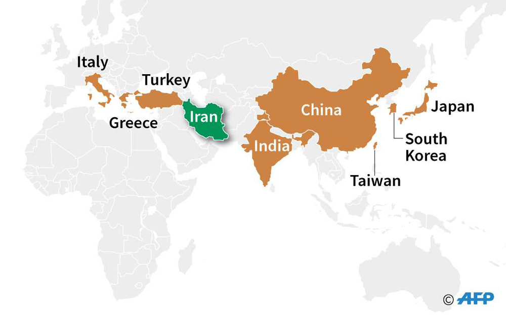 Map locating the eight countries that lost exemptions from US sanctions on Iran's oil exports. (AFP)
