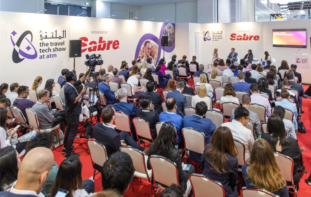 Visitors attend a panel at the Travel Tech Show at the Arabian Travel Market. (ATM)