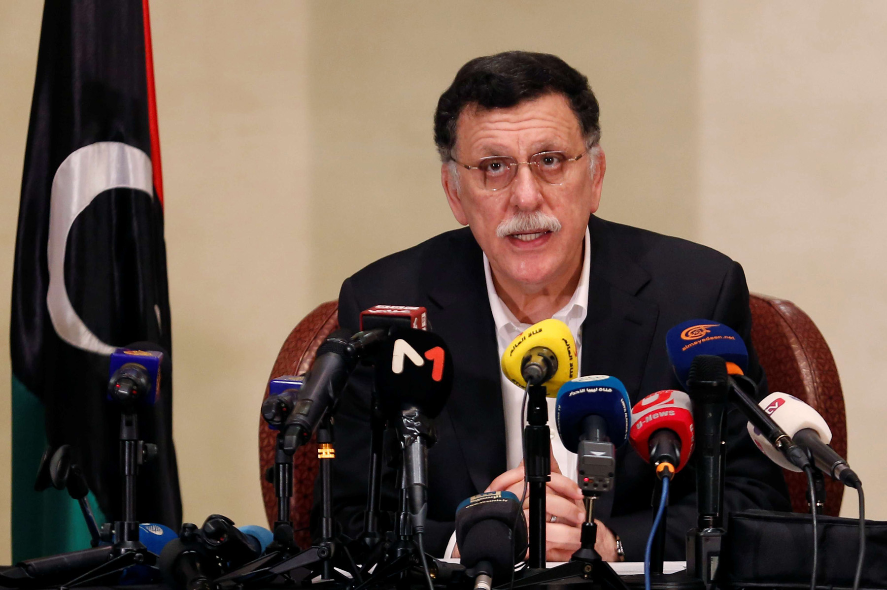 Libyan Prime Minister Fayez al-Sarraj speaks during a news conference in Tunis, Tunisia, May 22, 2019. (Reuters)