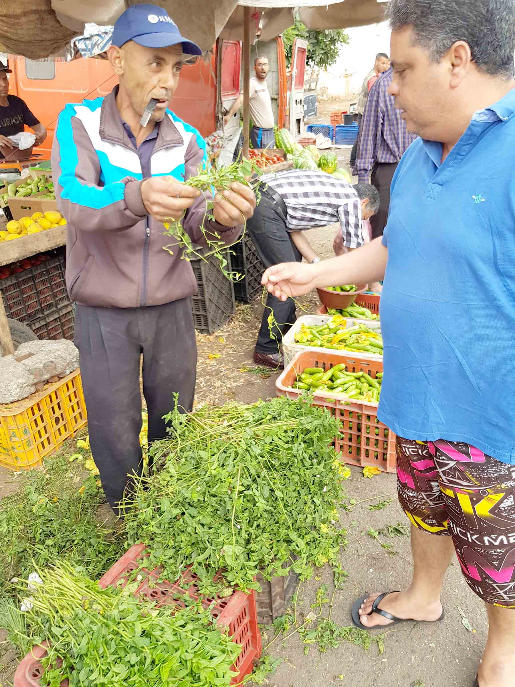 Ditching mint. A mint seller shows the quality of mint to a customer.(Saad Guerraoui)