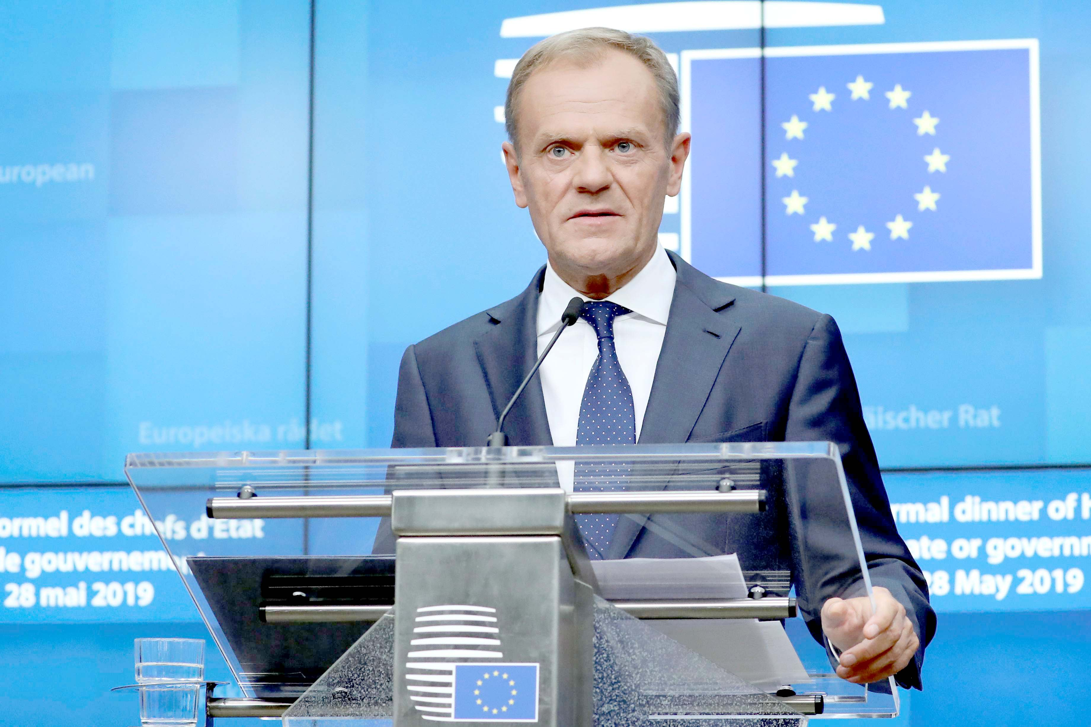 Shifting politics. European Council President Donald Tusk holds a news conference after a European Union leaders summit following the EU elections, in Brussels, May 28. (Reuters)